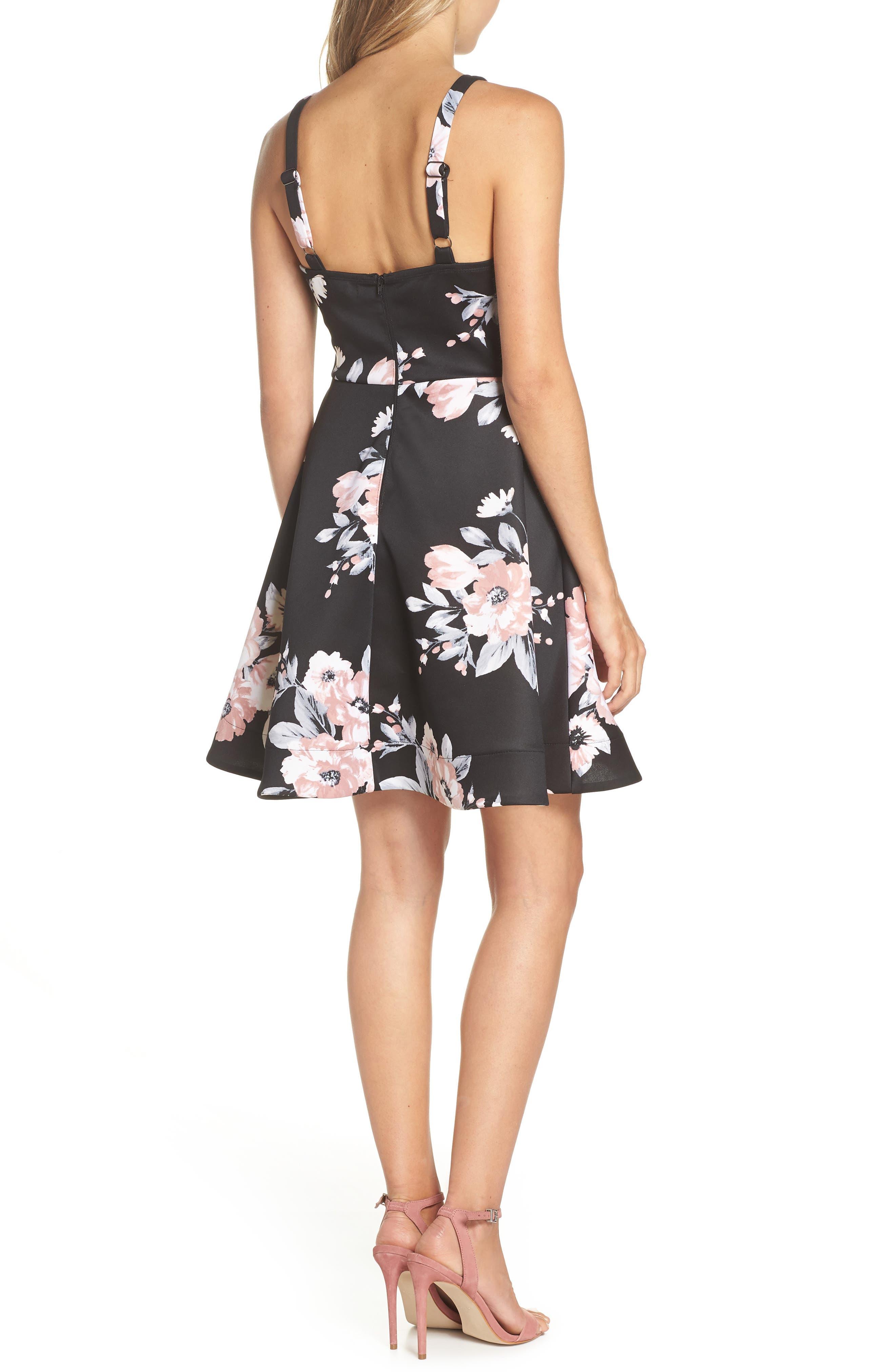 Floral Print Fit & Flare Dress,                             Alternate thumbnail 2, color,                             BLACK/ MAUVE