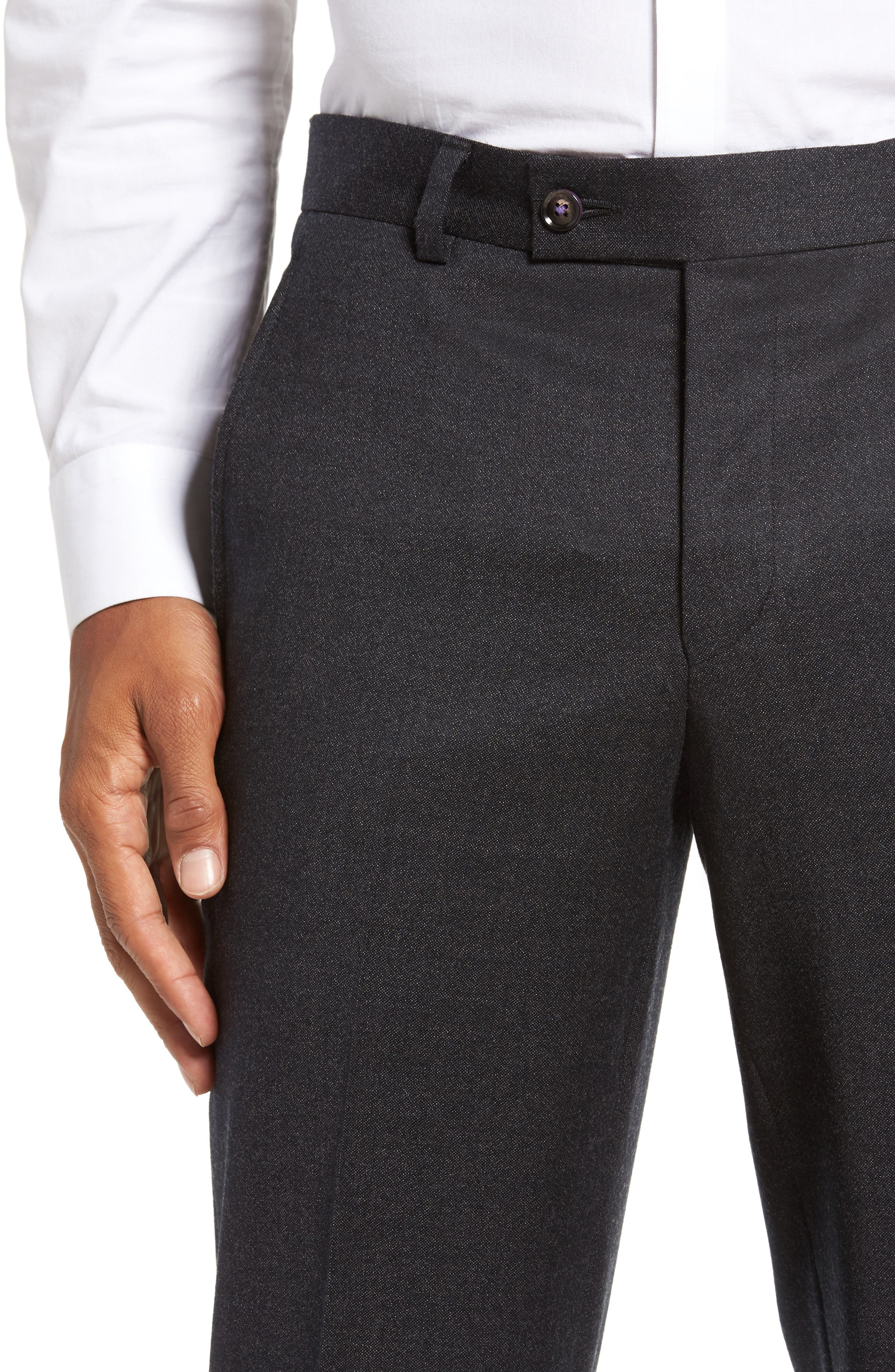 Jeremy Flat Front Solid Wool Trousers,                             Alternate thumbnail 5, color,                             050