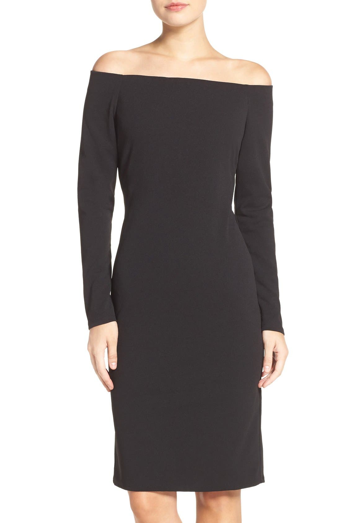 Off the Shoulder Scuba Sheath Dress,                         Main,                         color, 001