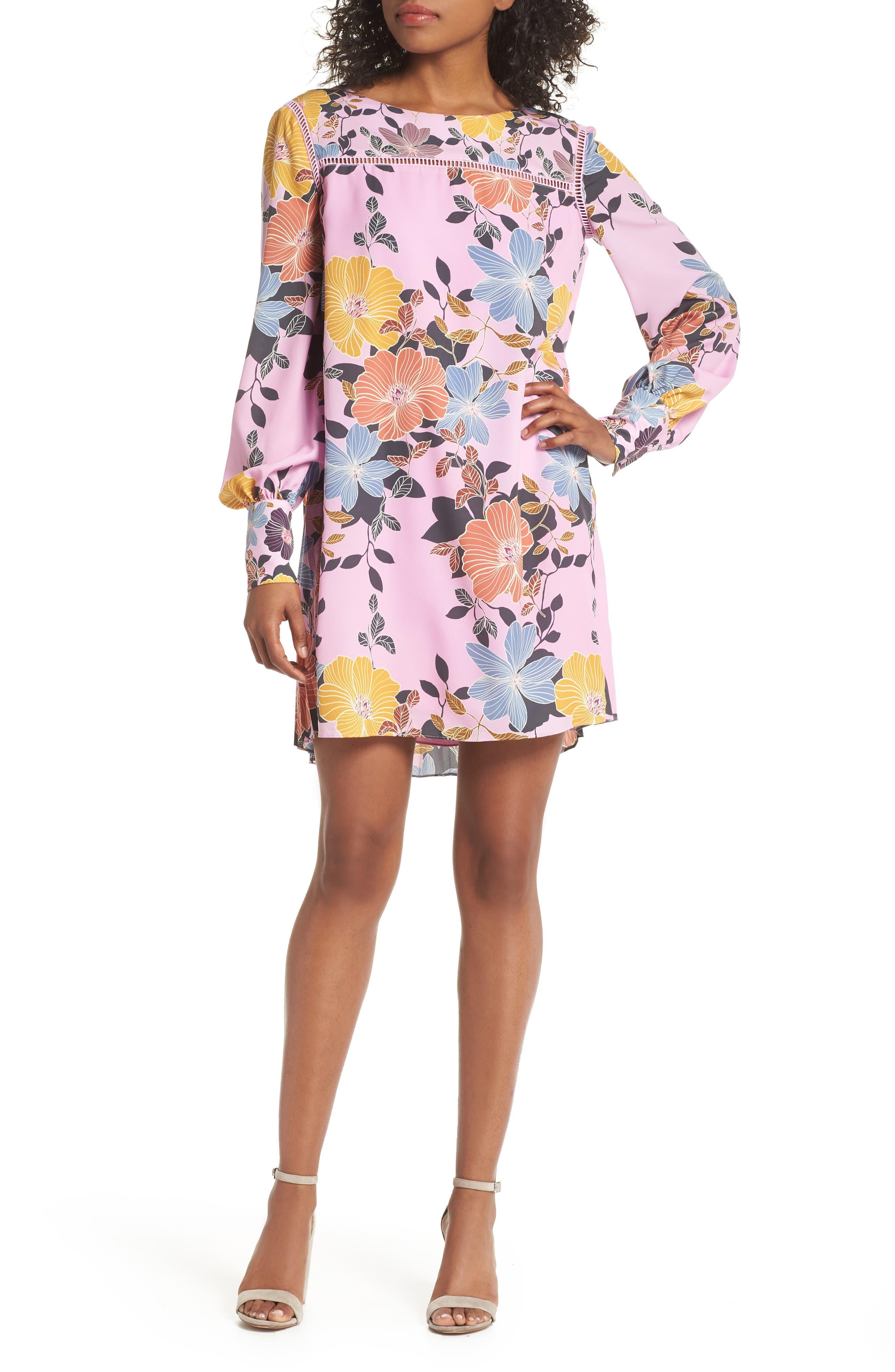 Shikoku Floral Crepe Shift Dress,                         Main,                         color, 530