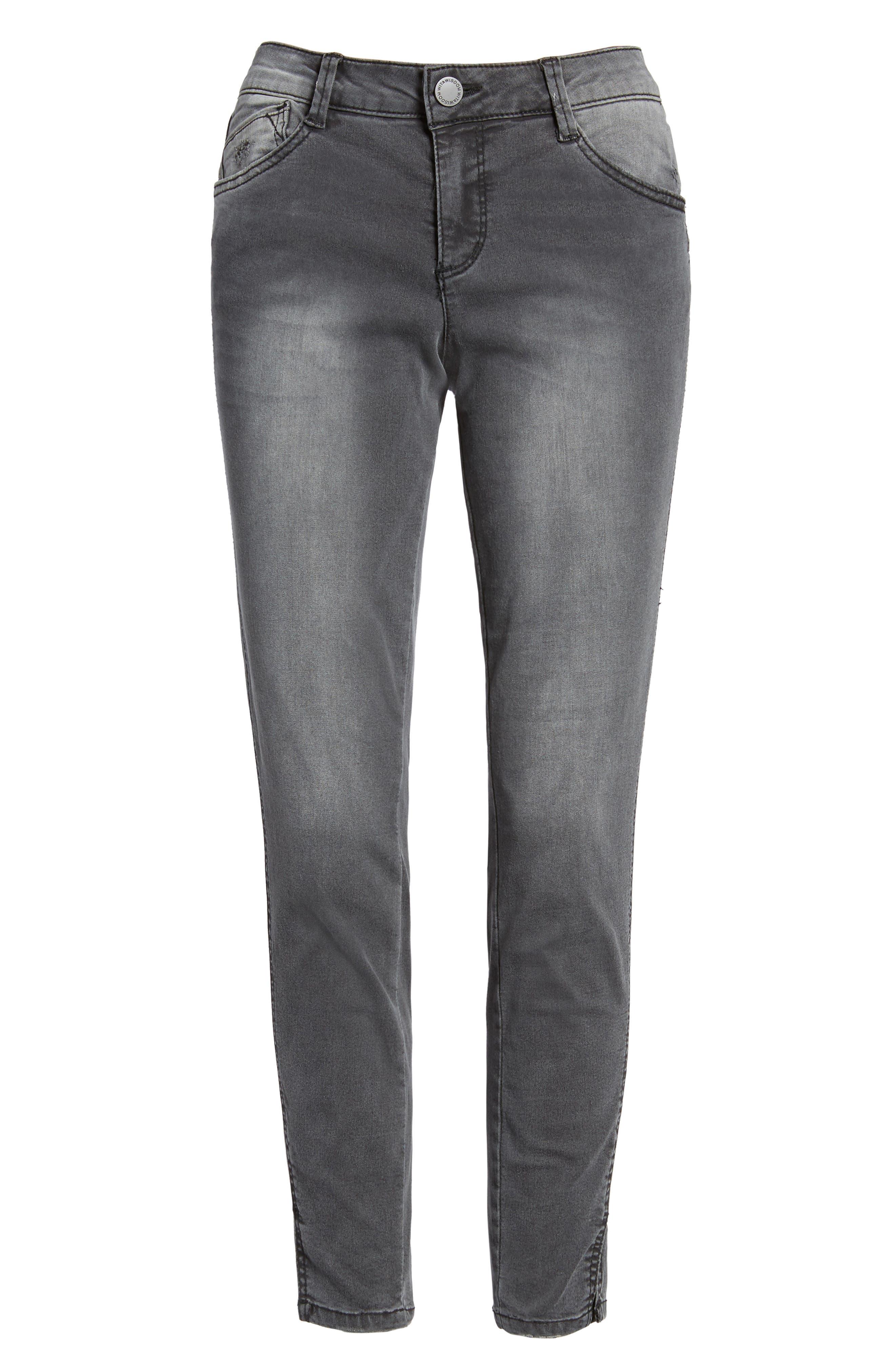 Slit Skinny Ankle Jeans,                             Alternate thumbnail 6, color,                             020