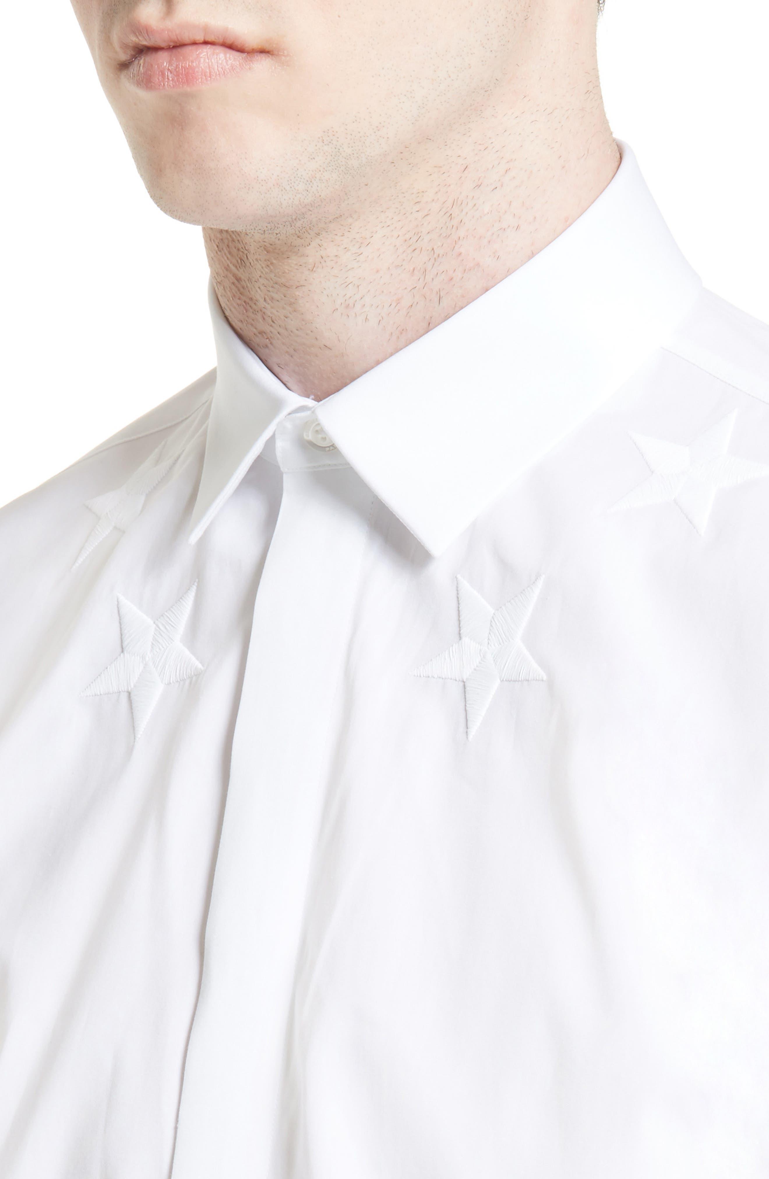 Tonal Star Embroidered Sport Shirt,                             Alternate thumbnail 5, color,                             100