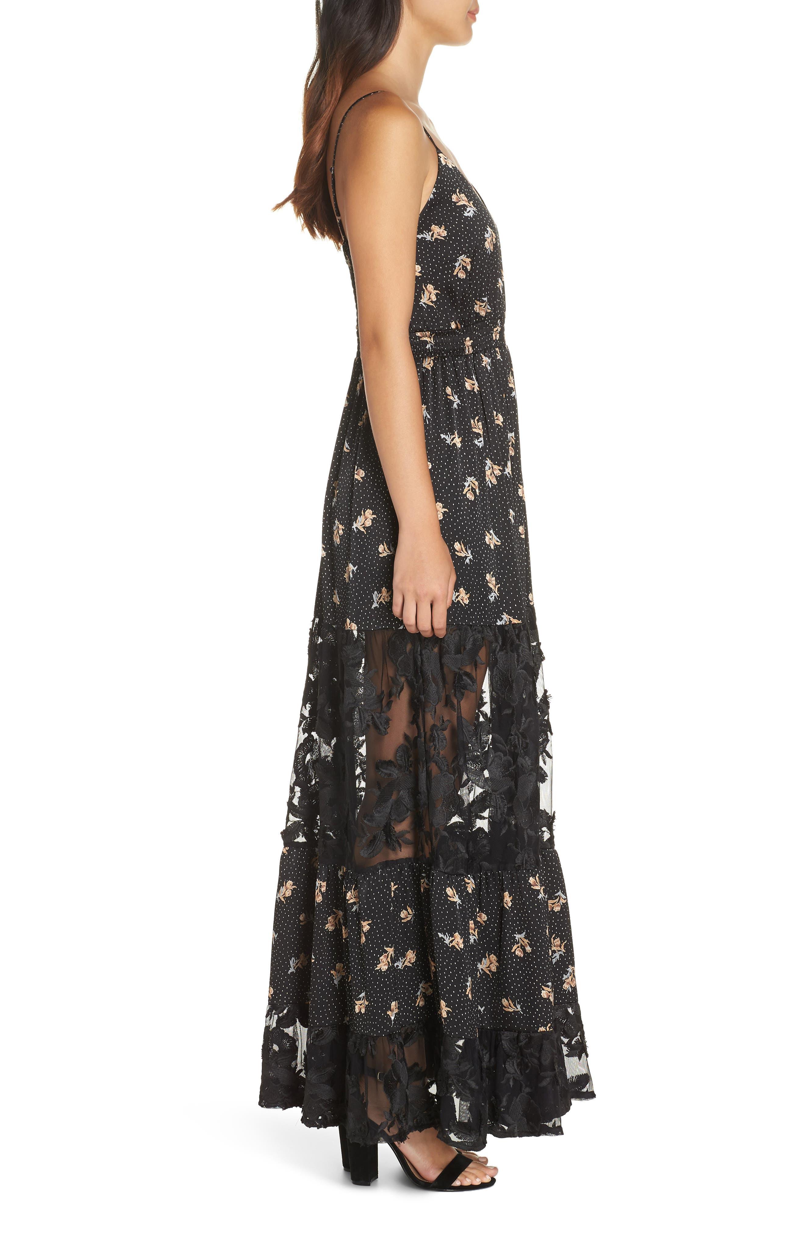 Lace Panel Maxi Dress,                             Alternate thumbnail 3, color,                             BLACK FLORAL