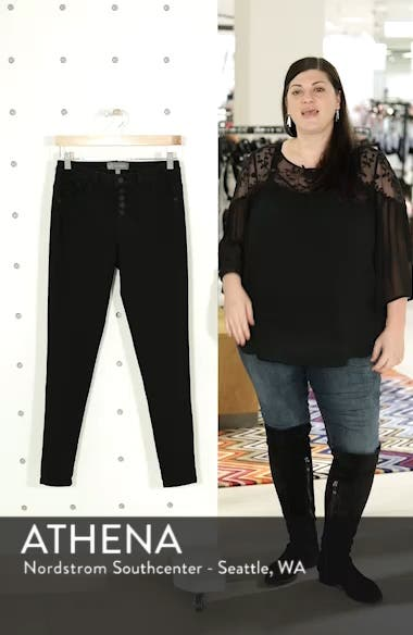 High Waist Button Fly Skinny Ankle Jeans, sales video thumbnail