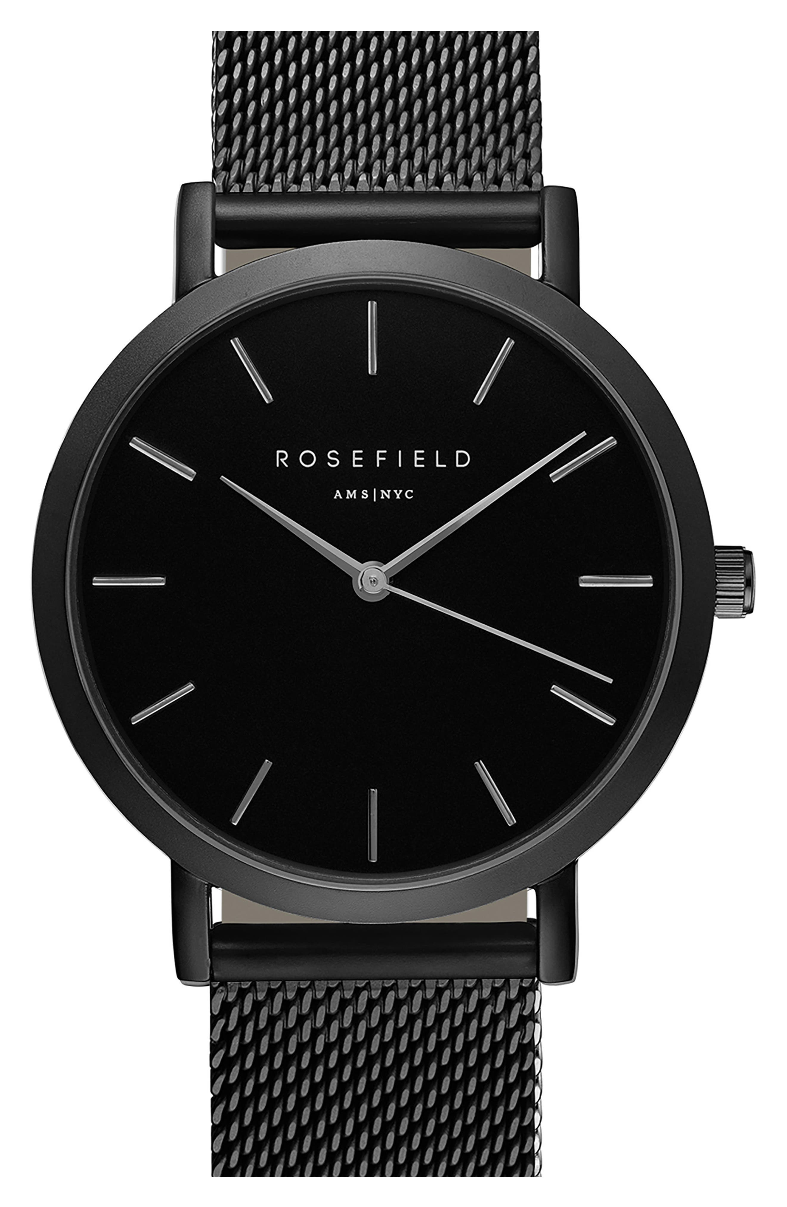 ROSEFIELD,                             Mercer Mesh Strap Watch, 38mm,                             Main thumbnail 1, color,                             001