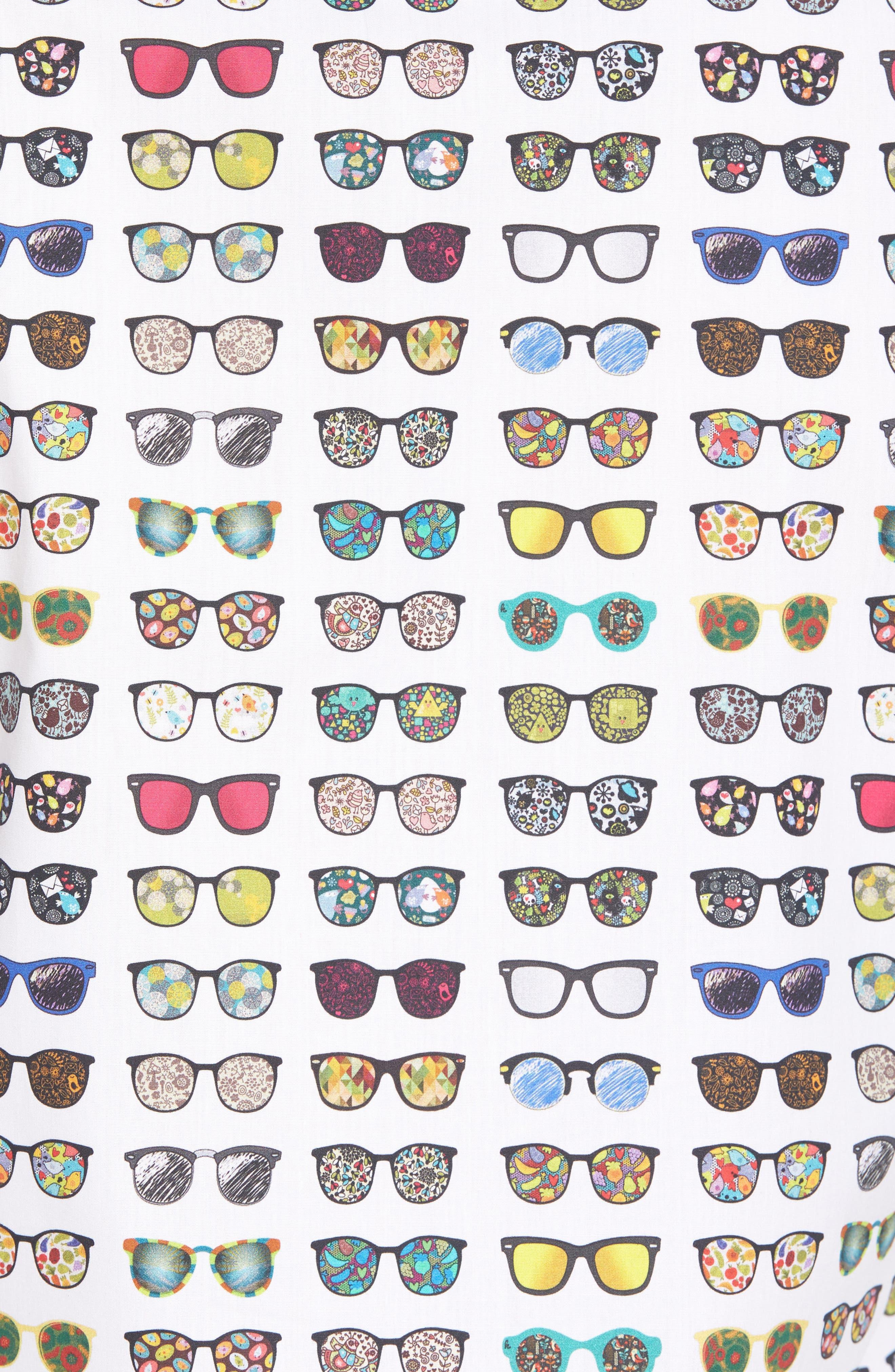 Sunglasses Print Sport Shirt,                             Alternate thumbnail 3, color,                             WHITE MULTI SUNGLASSES