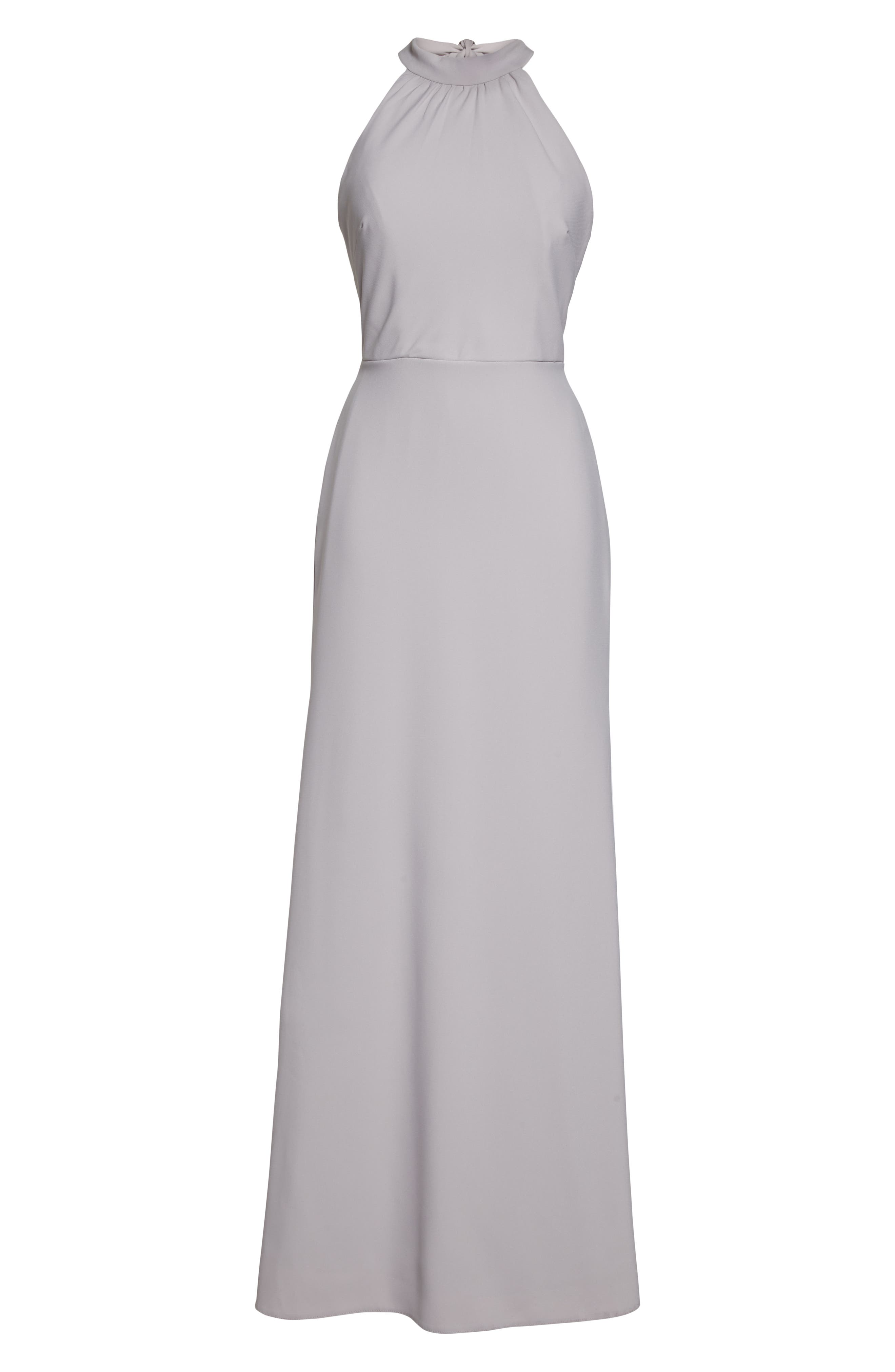 Crepe Halter Gown,                             Alternate thumbnail 3, color,                             TAUPE