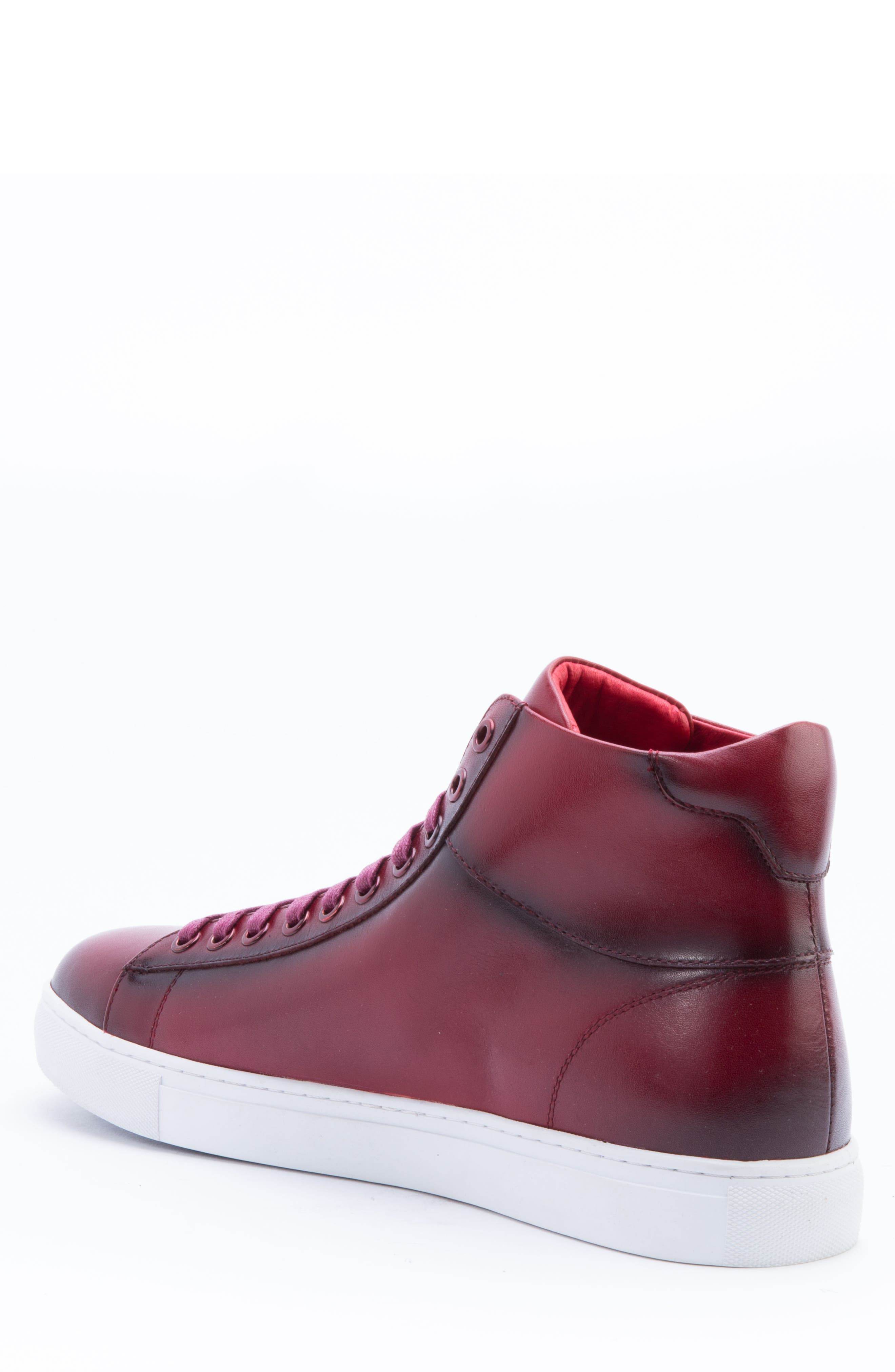 Spinback High Top Sneaker,                             Alternate thumbnail 2, color,                             RED LEATHER