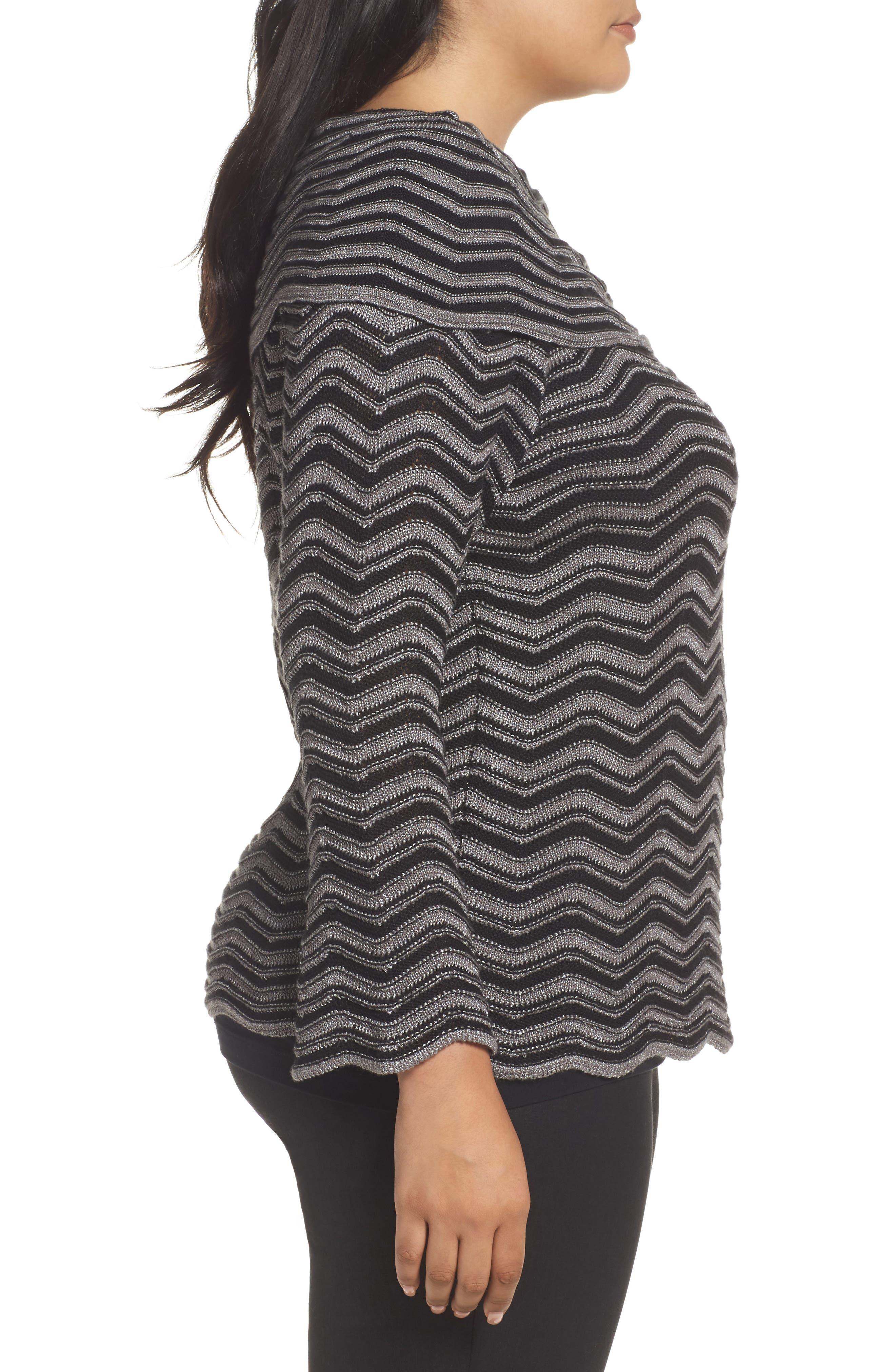 Zigzag Stripe Sweater,                             Alternate thumbnail 3, color,                             004