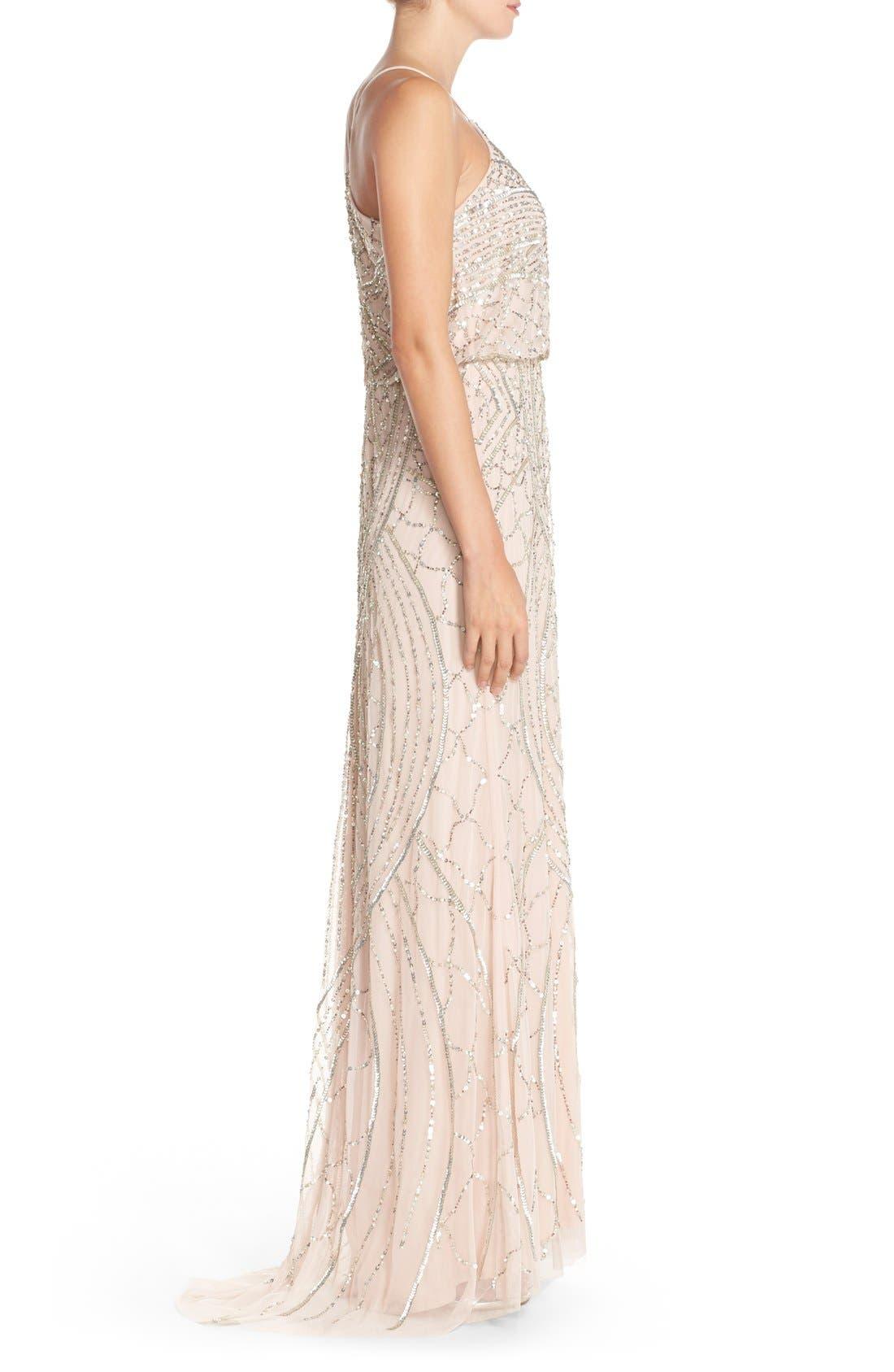 Sequin Chiffon Blouson Gown,                             Alternate thumbnail 4, color,                             684
