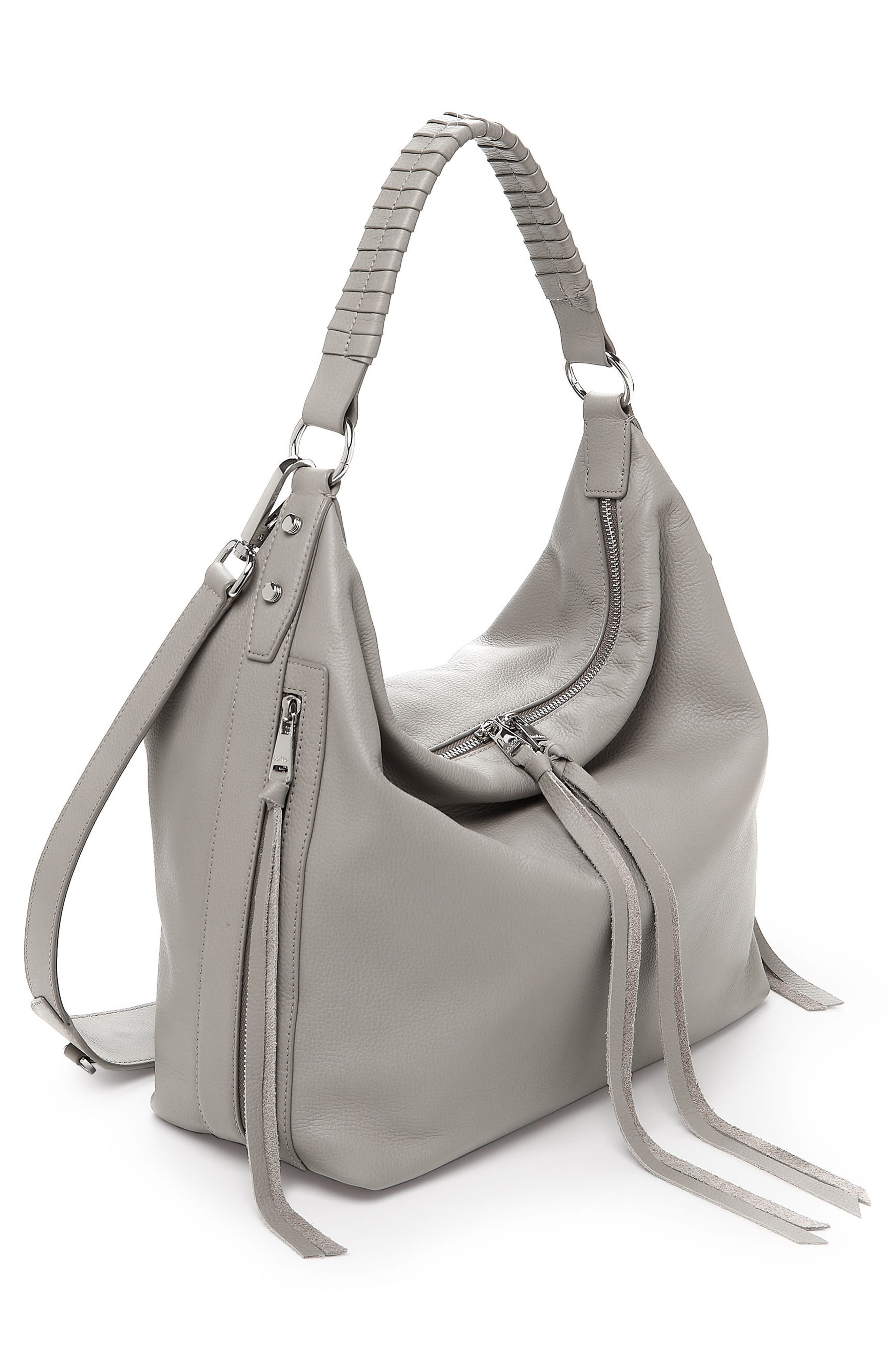 Samantha Leather Hobo Bag,                             Alternate thumbnail 3, color,                             GREY