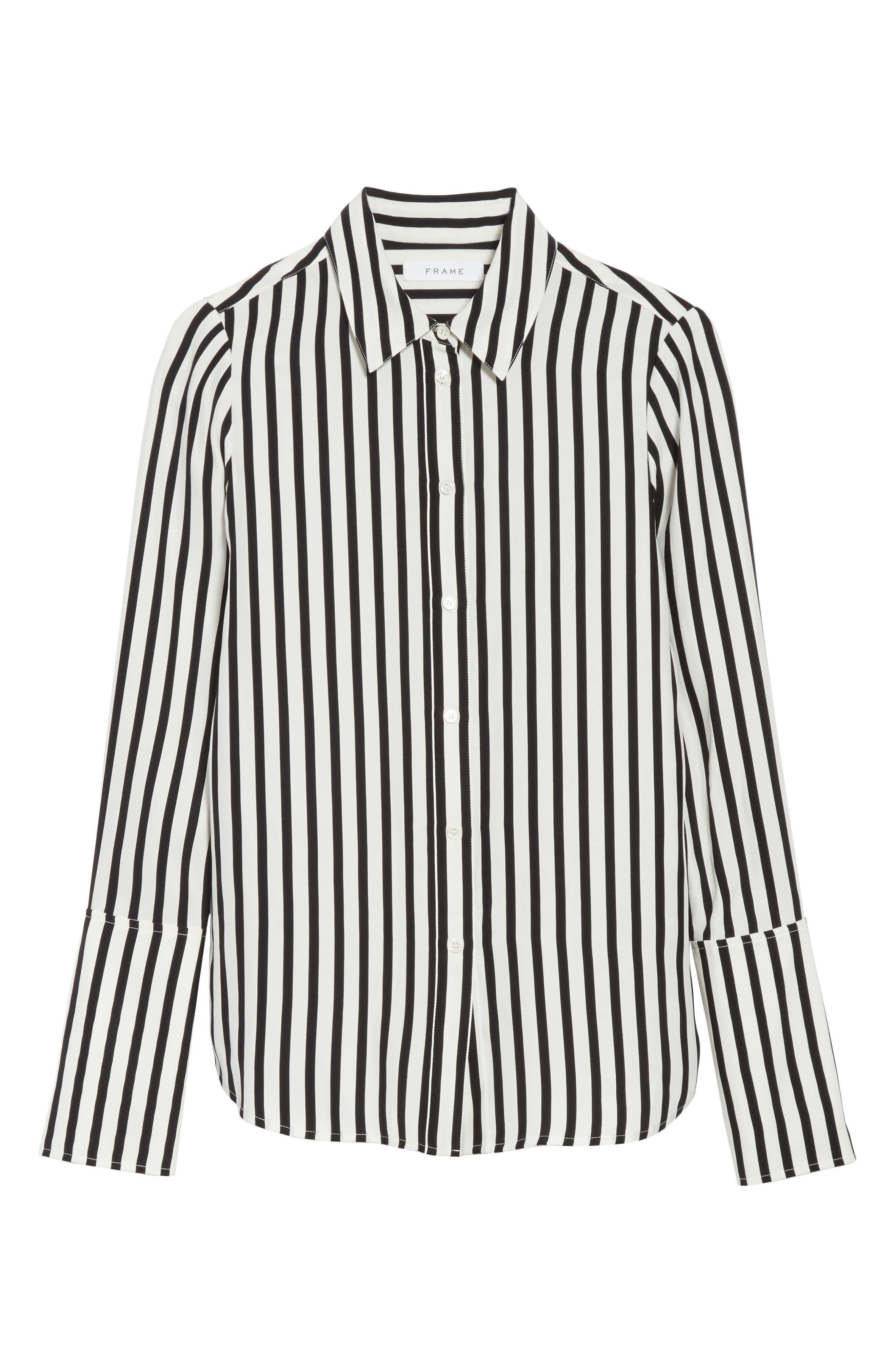 Stripe Silk Shirt,                             Alternate thumbnail 6, color,                             006