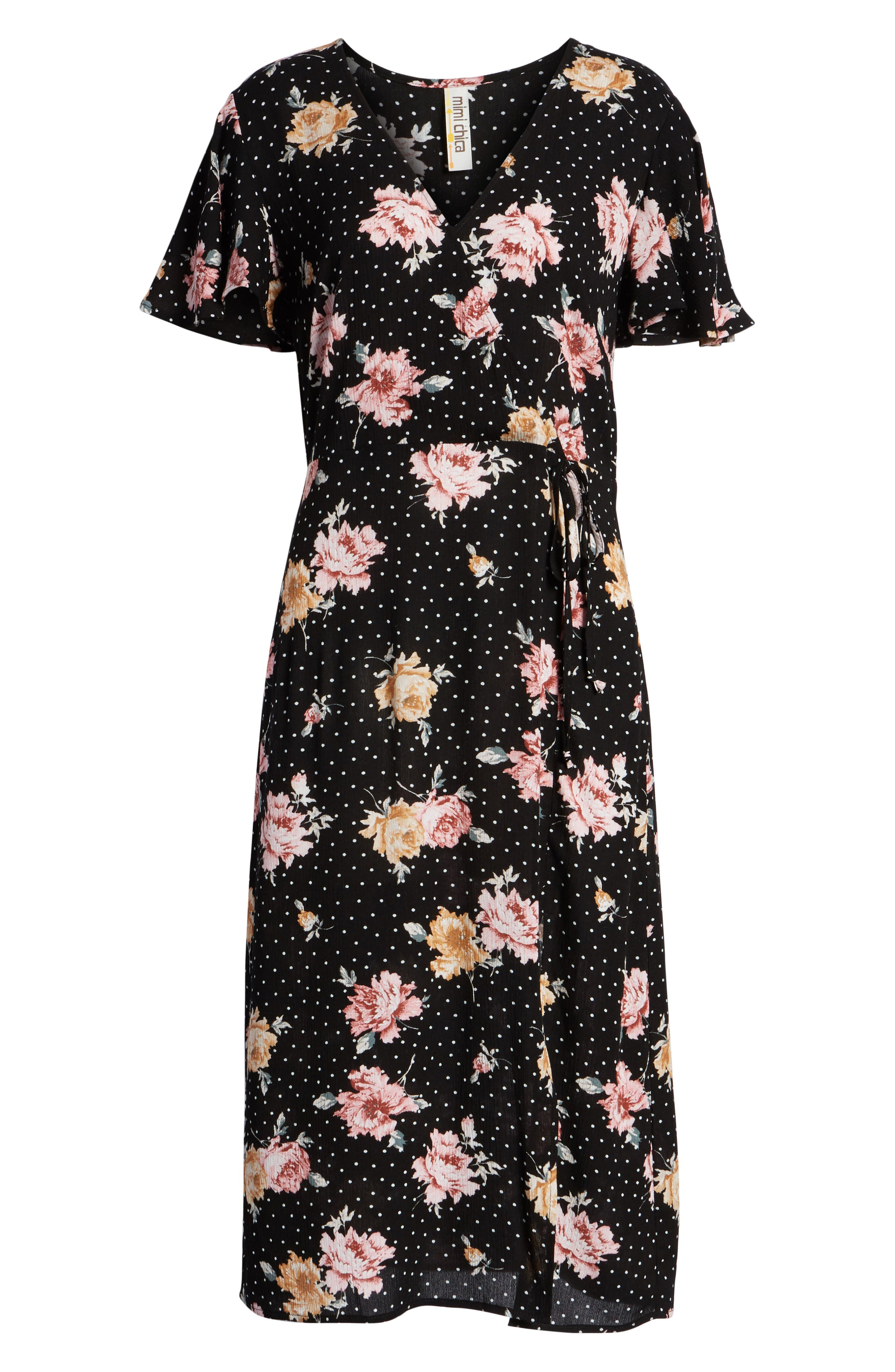 Print Tie Front Dress,                             Alternate thumbnail 7, color,                             BLACK FLORAL