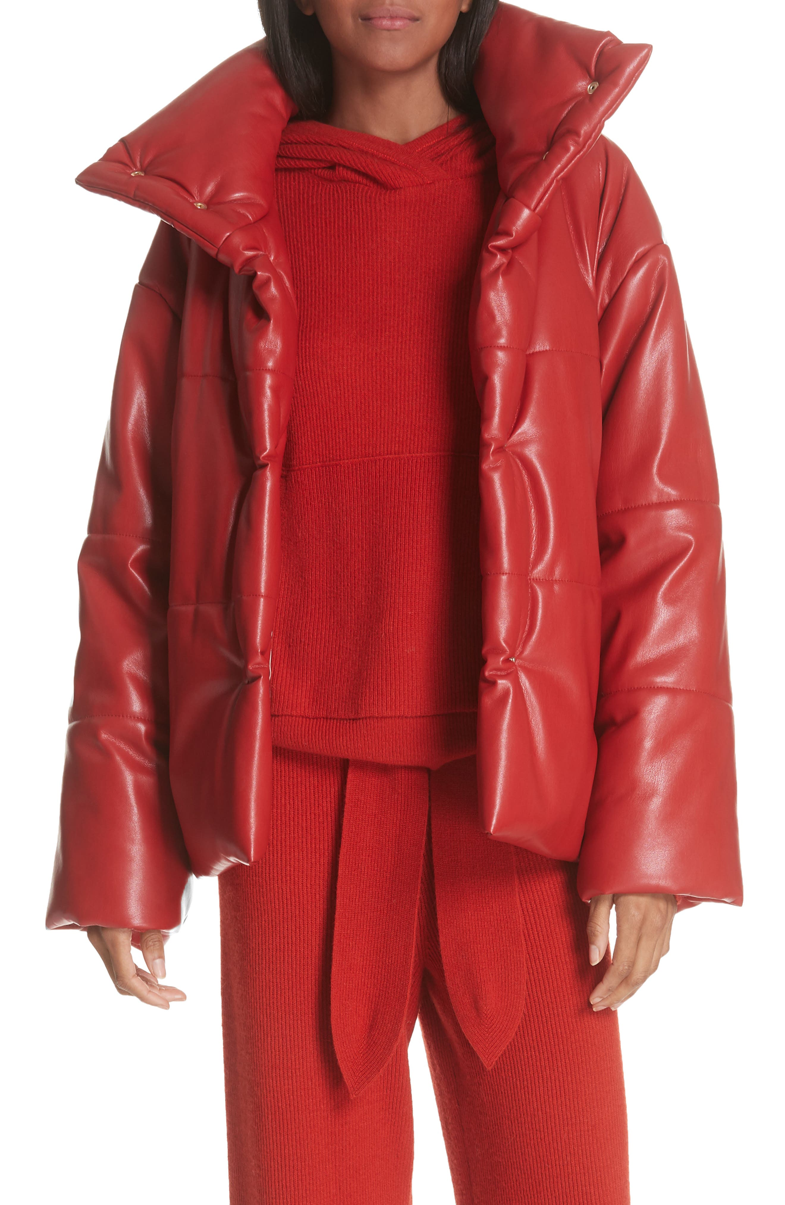Hide Faux Leather Puffer Jacket,                             Main thumbnail 1, color,                             RED