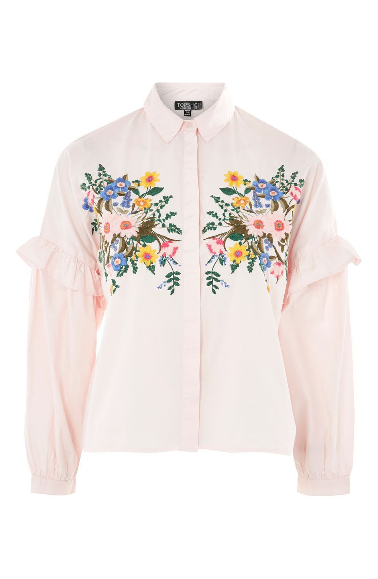 Forest Floral Embroidered Shirt,                             Alternate thumbnail 4, color,                             680