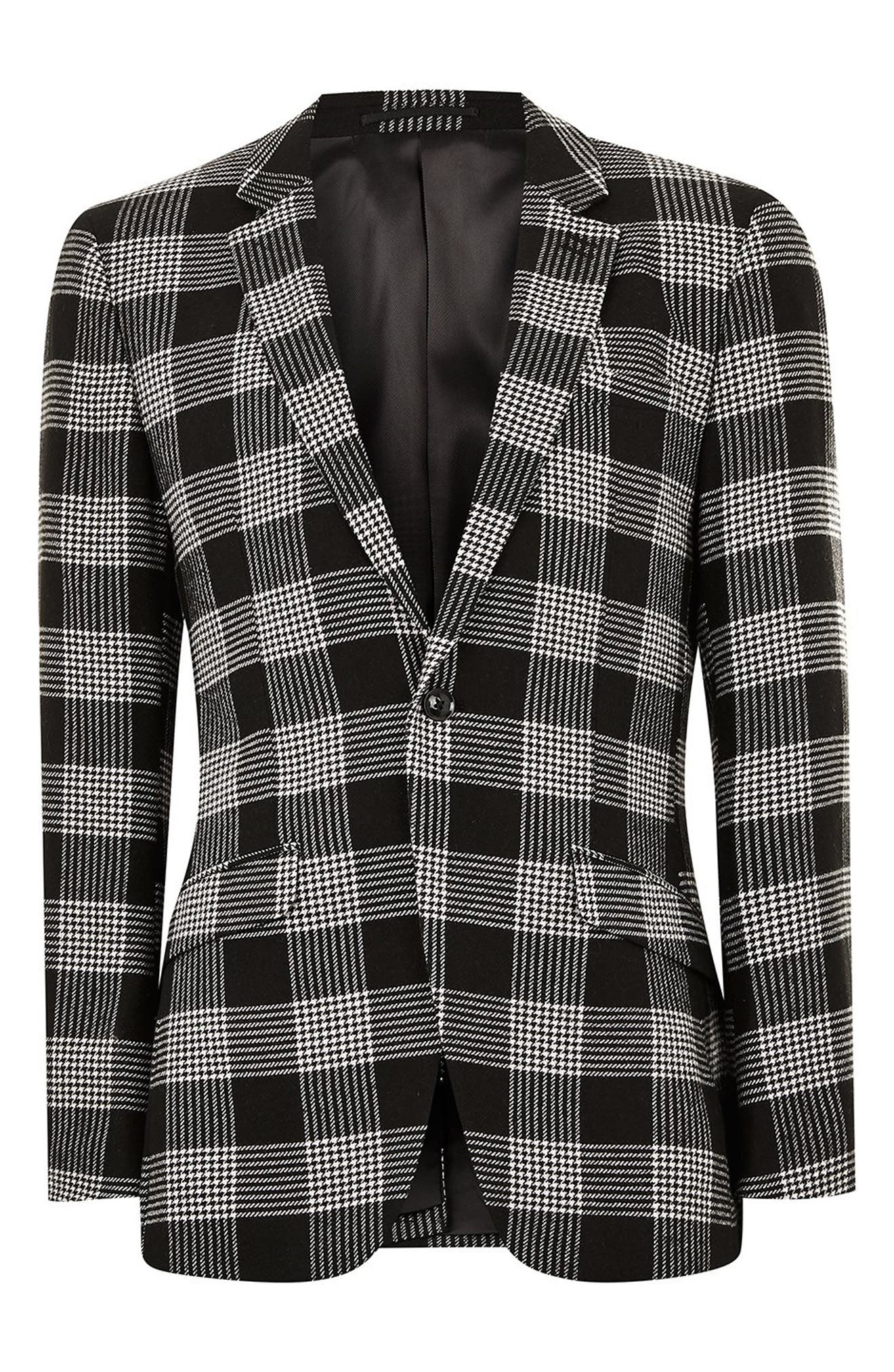 Leigh Classic Check Slim Fit Blazer,                             Alternate thumbnail 4, color,                             BLACK MULTI