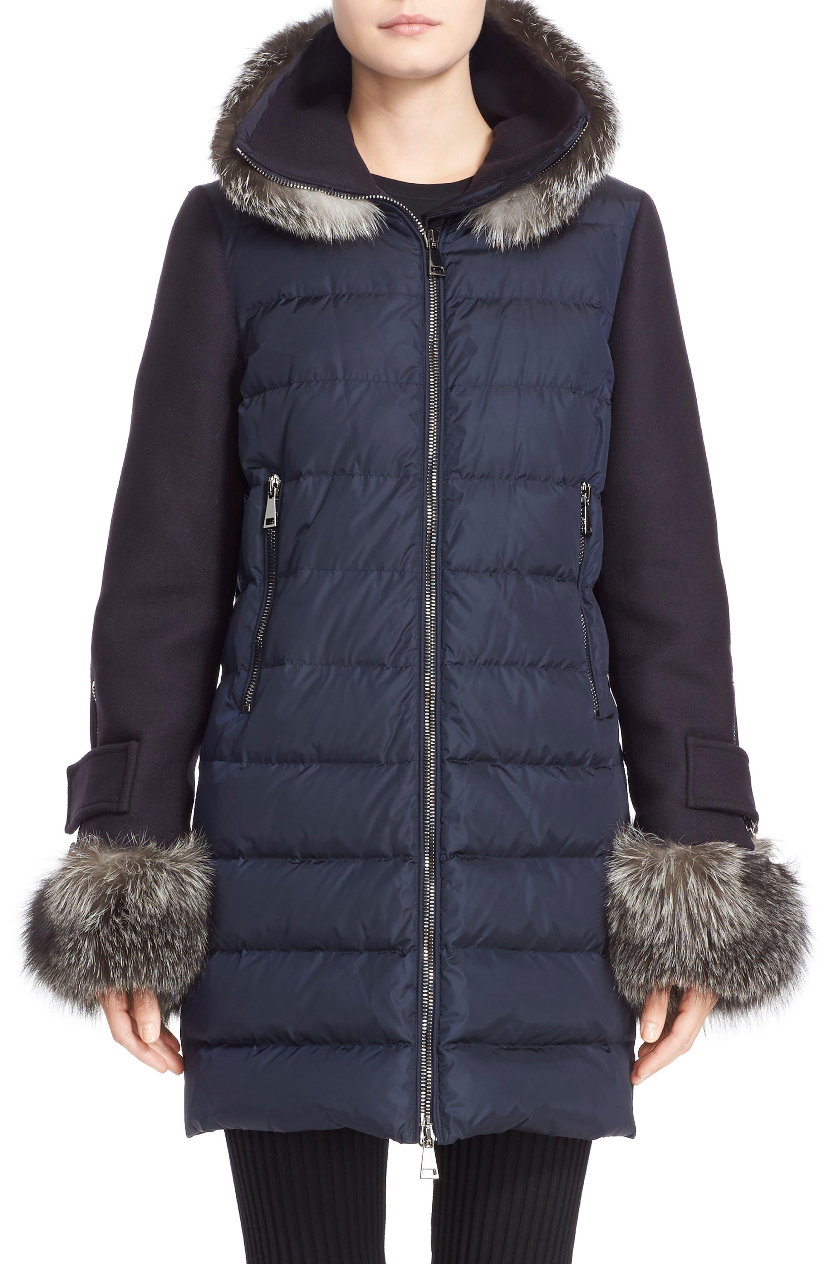 'Elestoria' Two-Piece Down Puffer Coat with Genuine Fox Fur Trim,                             Main thumbnail 1, color,                             419
