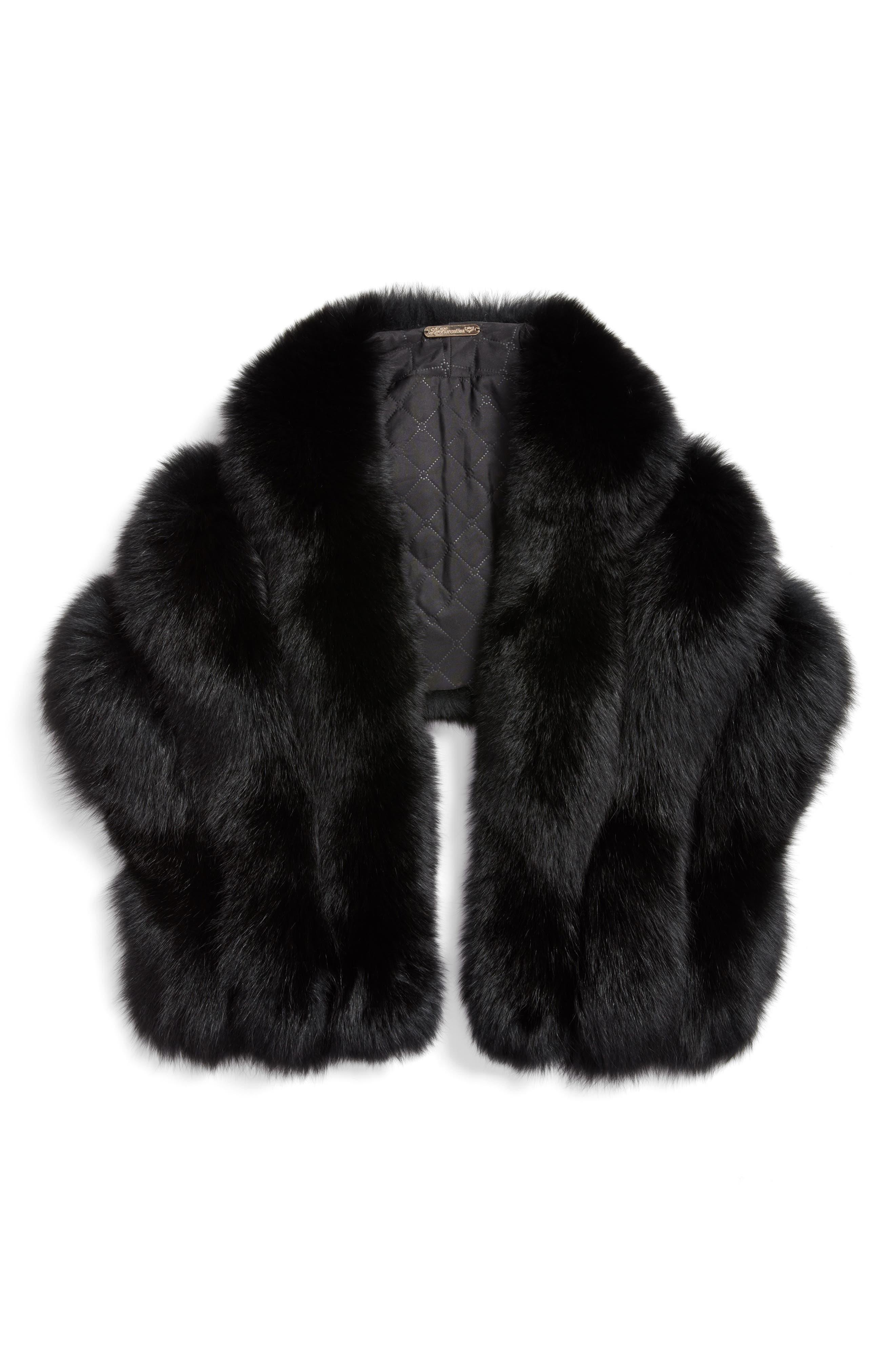 Faux Fox Fur Stole,                             Alternate thumbnail 2, color,                             001