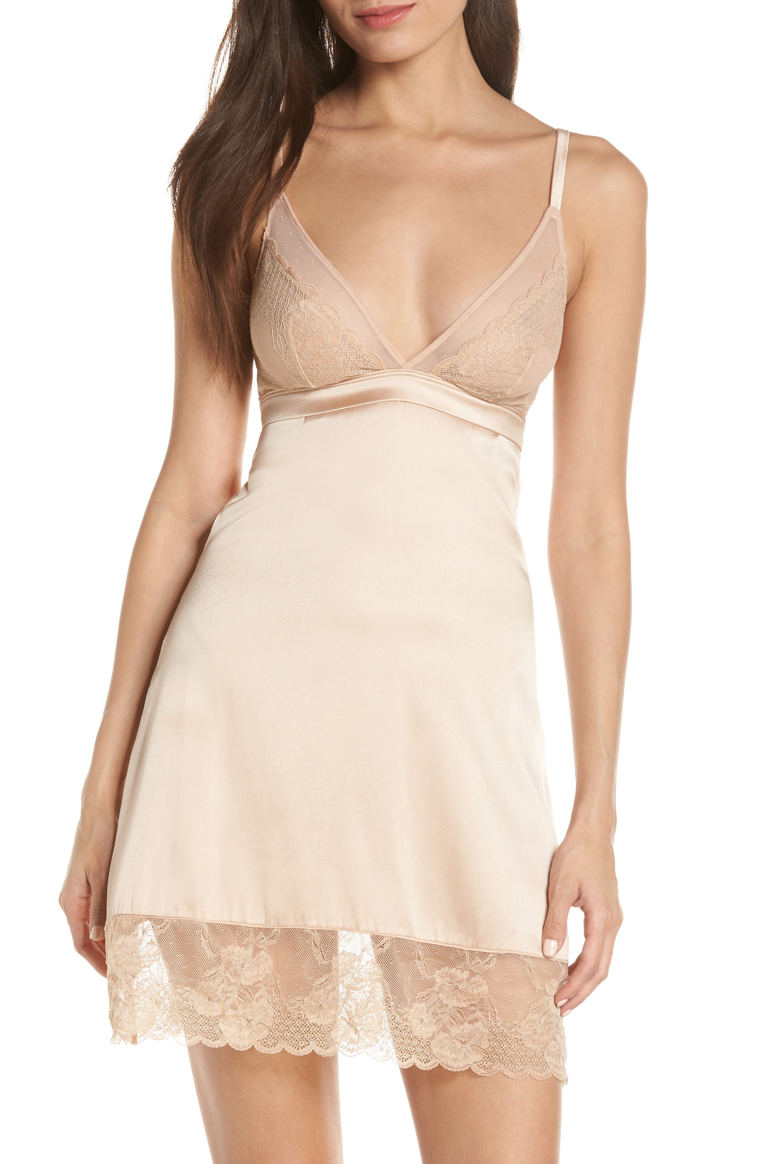 ADDICTION NOUVELLE LINGERIE Lace & Silk Chemise in Nude