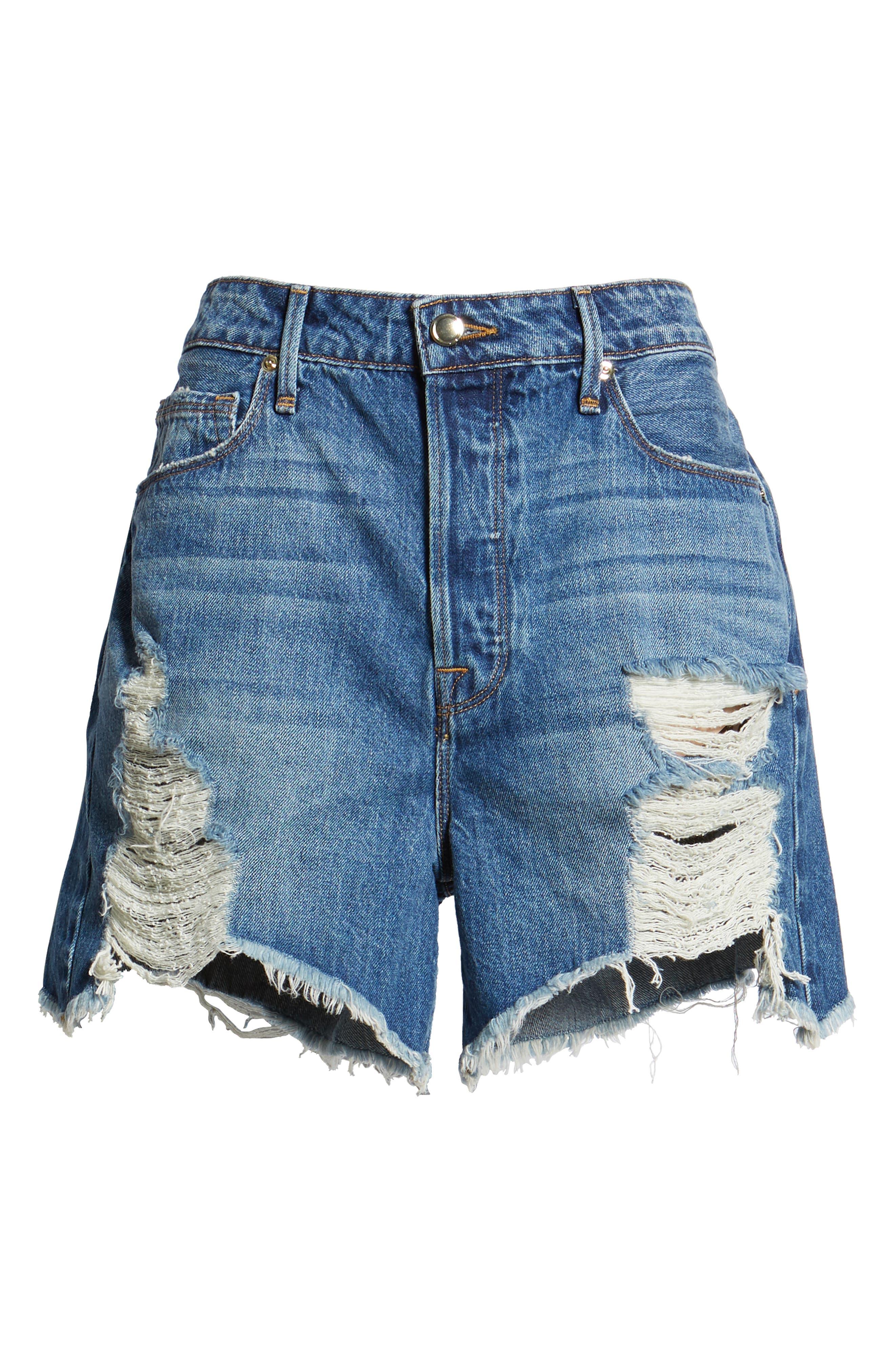 Bombshell High Waist Cutoff Denim Shorts,                             Alternate thumbnail 6, color,                             BLUE153