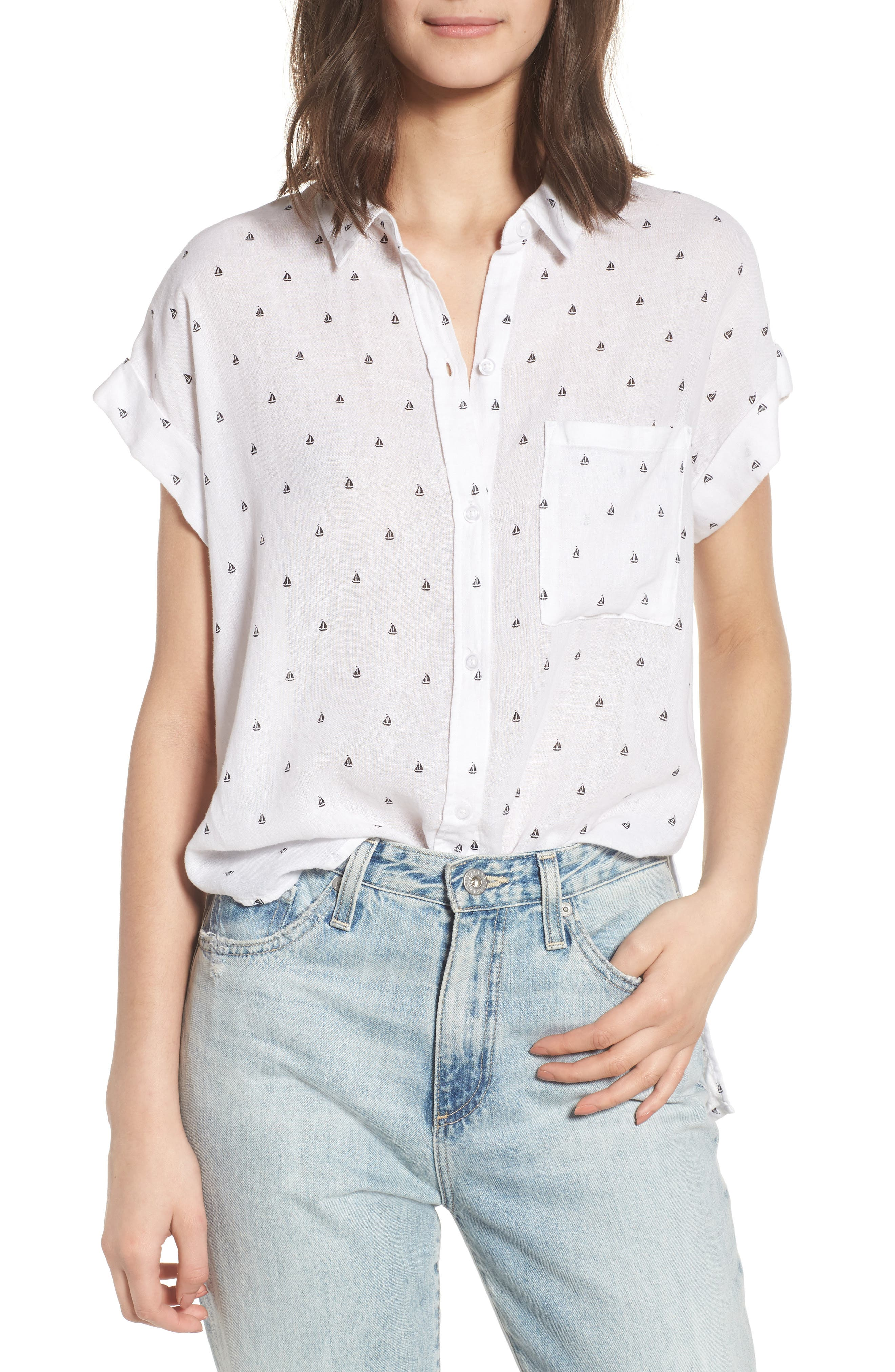 Whitney Sailboat Print Linen Blend Shirt,                         Main,                         color, 102