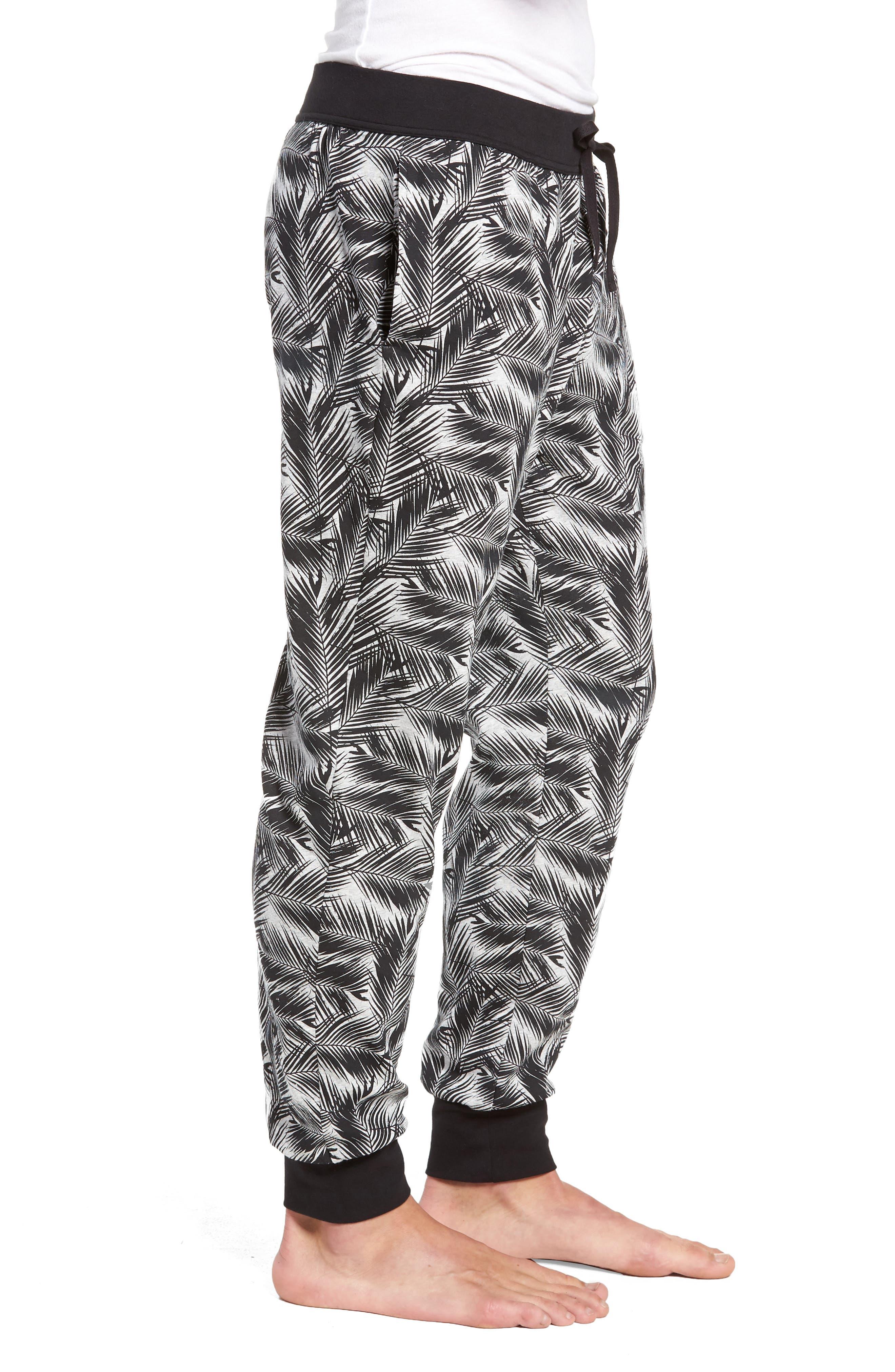 Print Stretch Cotton Jogger Pants,                             Alternate thumbnail 3, color,                             BLACK- GREY PALM FRONDS