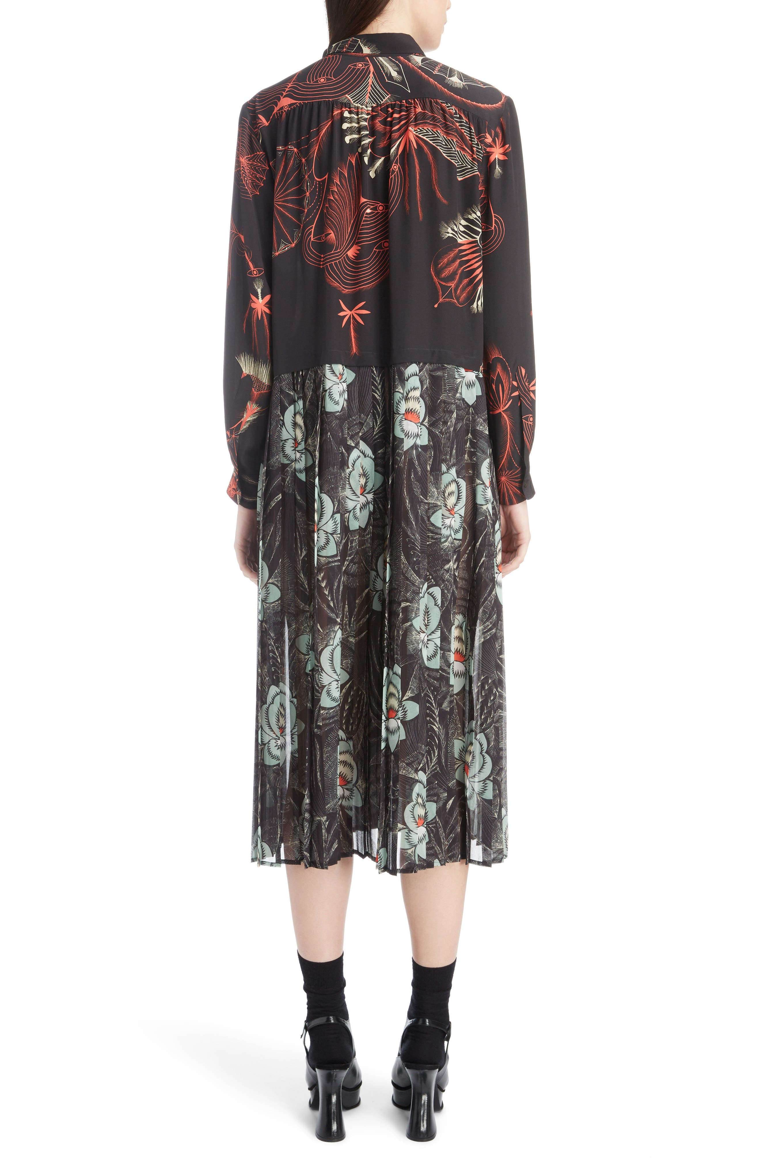 Mixed Print Silk Dress,                             Alternate thumbnail 2, color,                             BLACK