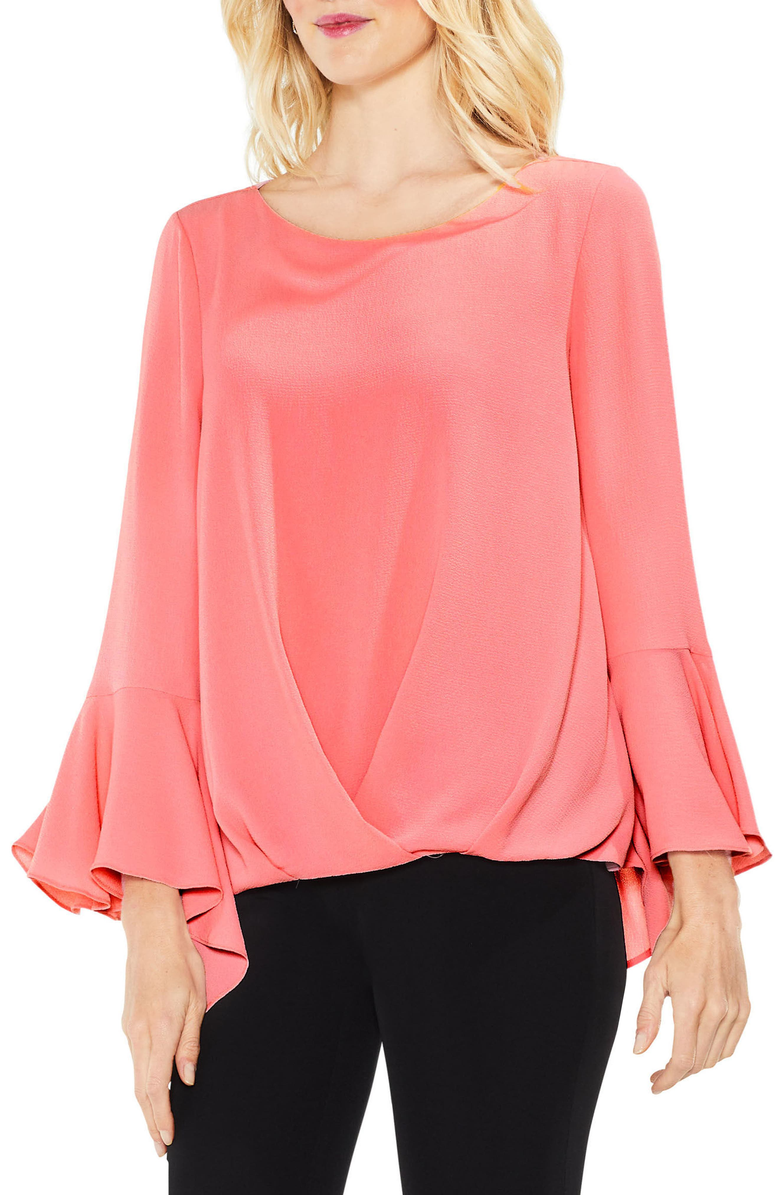 Bell Cuff Foldover Blouse,                             Main thumbnail 4, color,