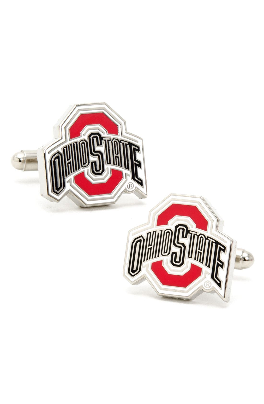 'Ohio State Buckeyes' Cuff Links,                             Main thumbnail 1, color,                             RED/ BLACK/ WHITE