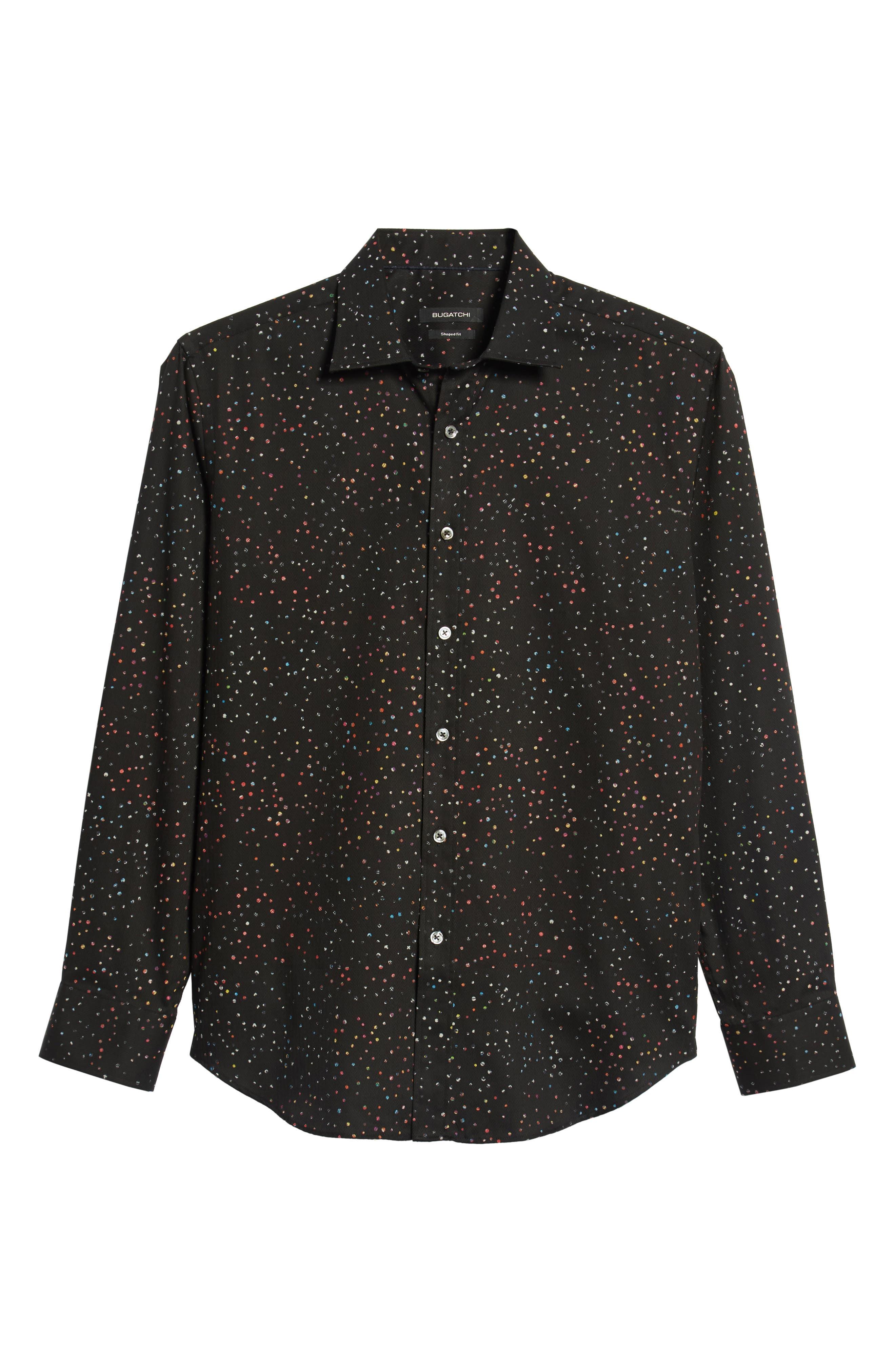 Shaped Fit Dot Sport Shirt,                             Alternate thumbnail 5, color,                             BLACK