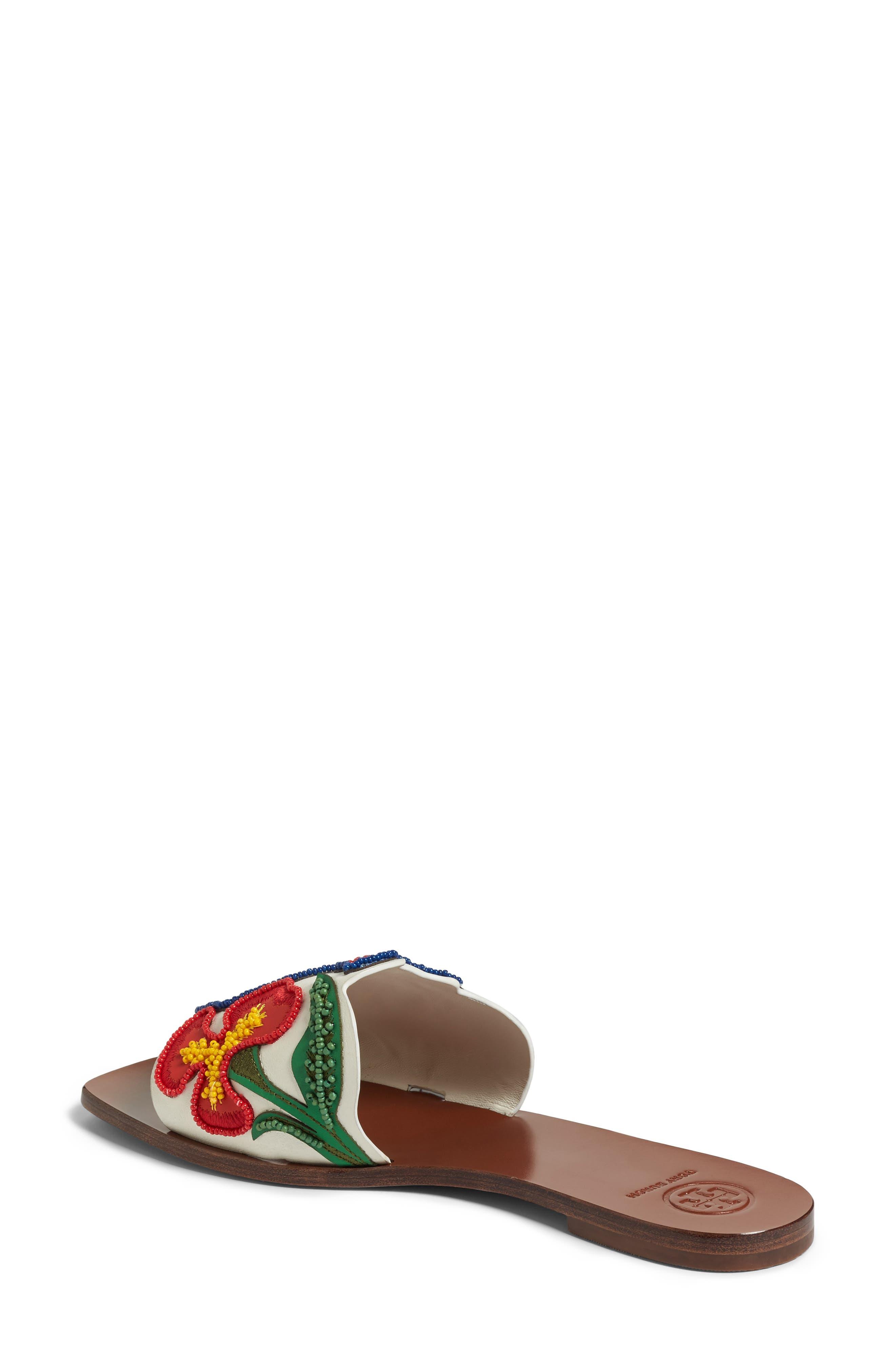TORY BURCH,                             Bianca Floral Embellished Slide Sandal,                             Alternate thumbnail 2, color,                             900