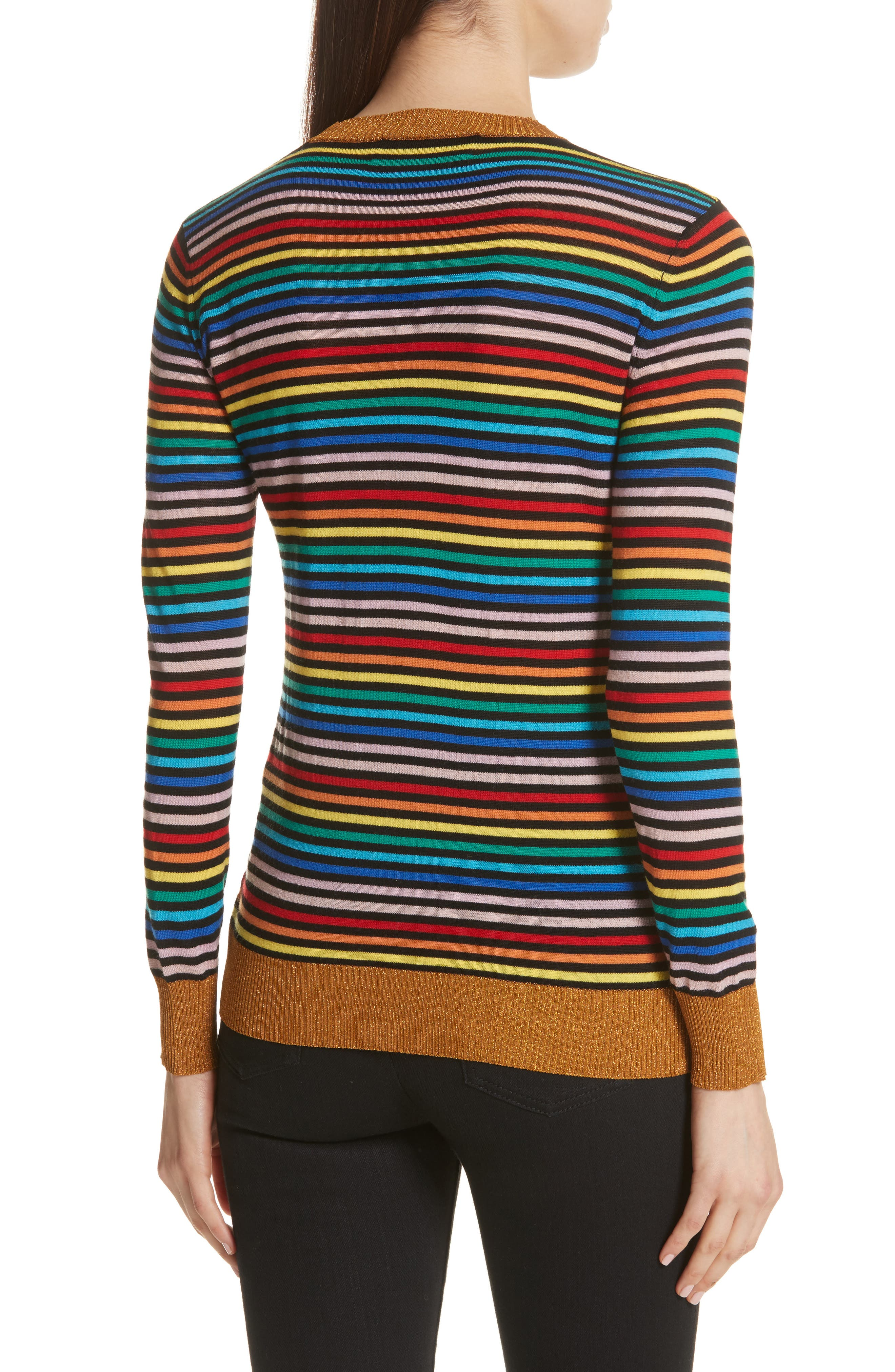 être cécile Stripe Knit Boyfriend Sweater,                             Alternate thumbnail 2, color,                             001