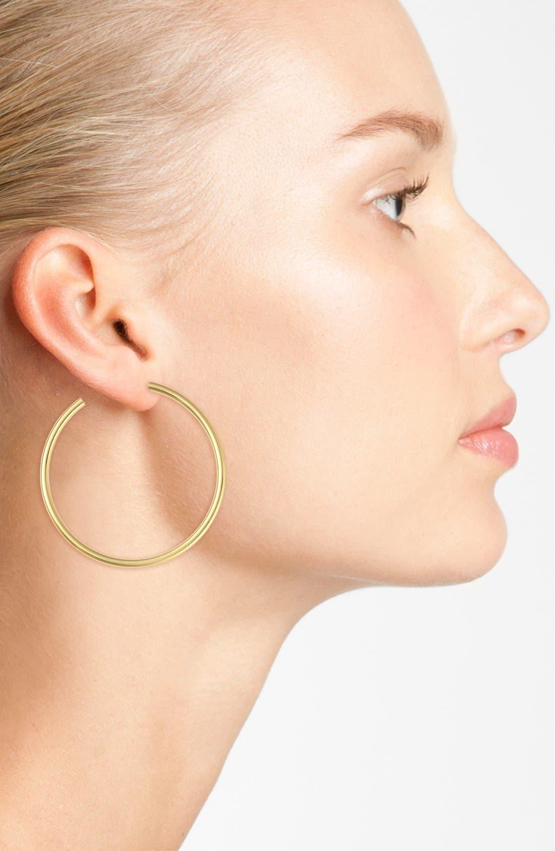 Tubular Hoop Earrings,                             Alternate thumbnail 2, color,                             GOLD