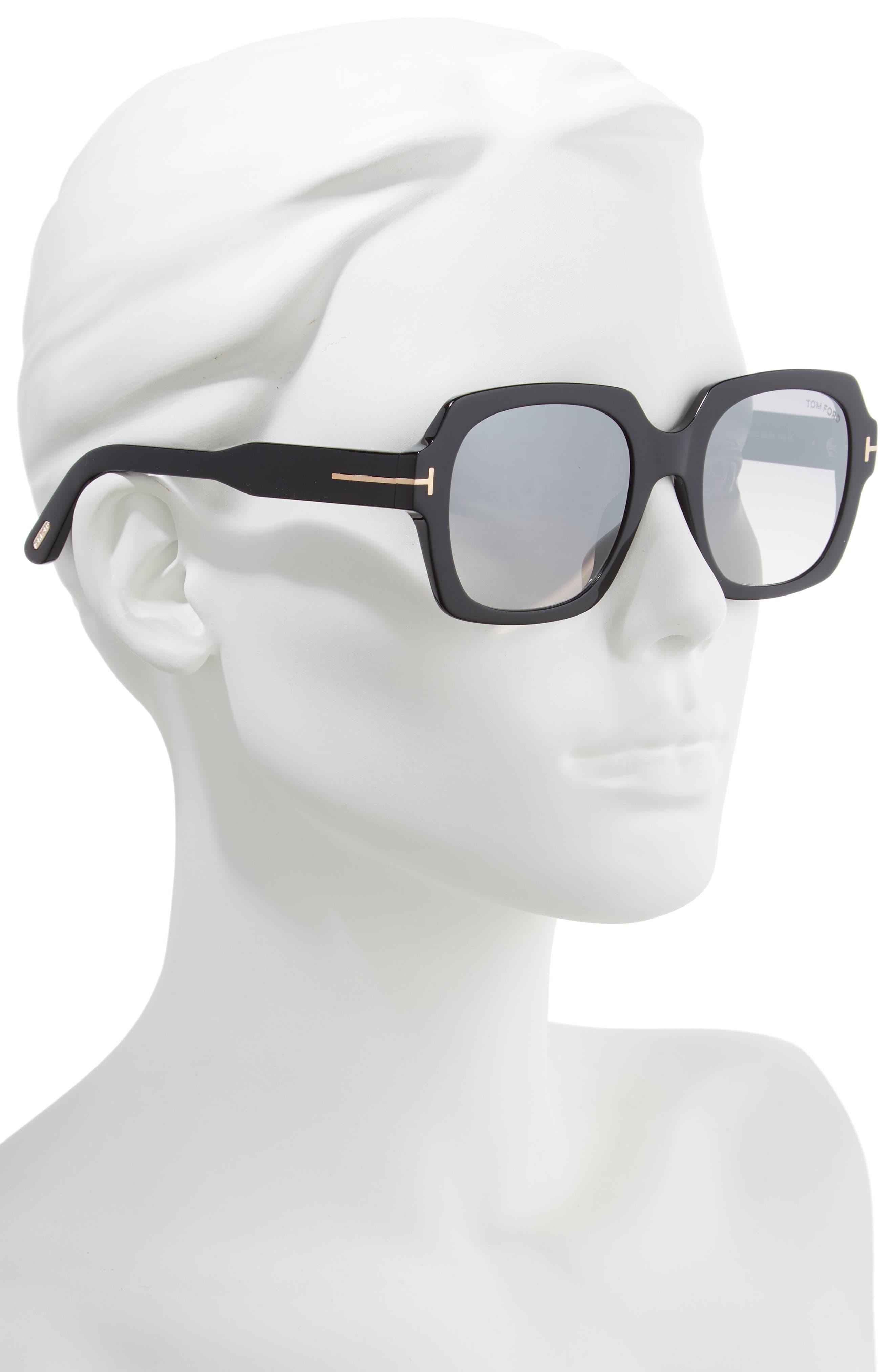 Autumn 53mm Square Sunglasses,                             Alternate thumbnail 2, color,                             BLACK/ SMOKE/ SILVER FLASH