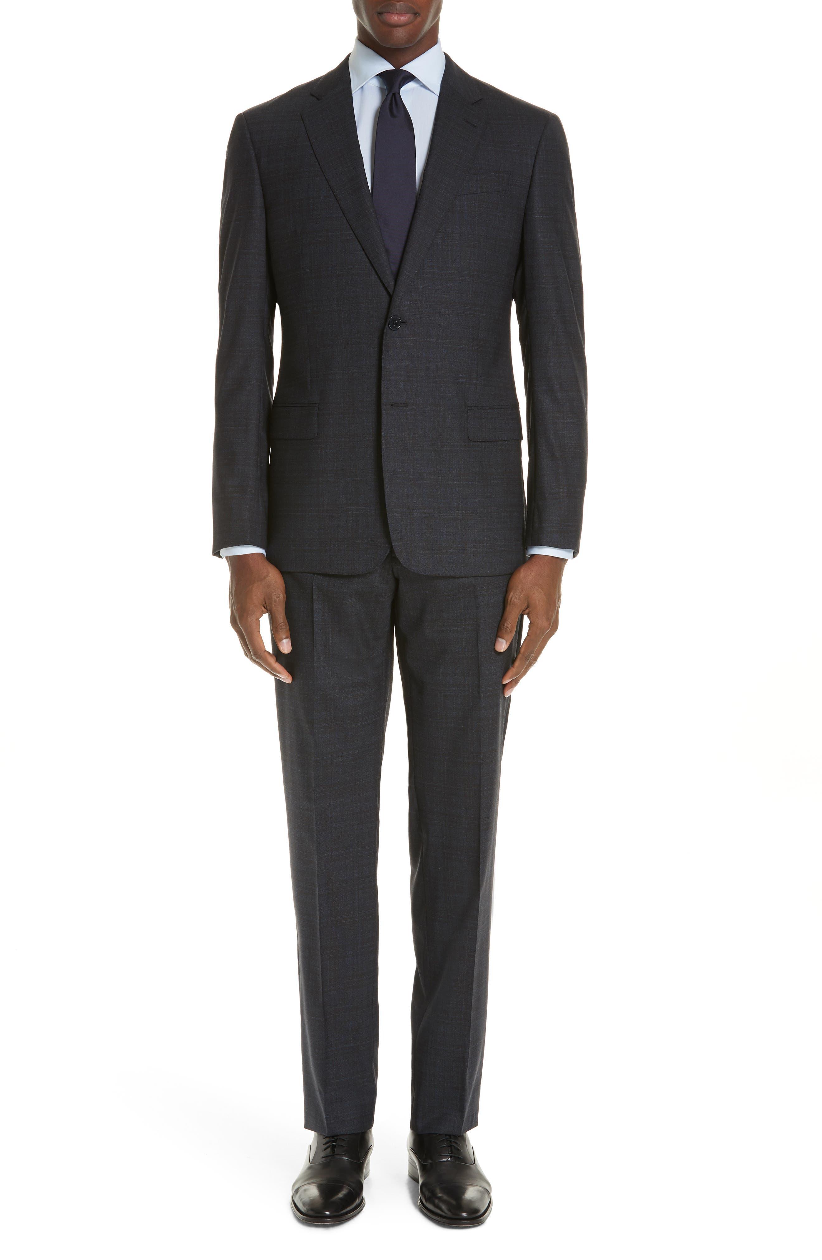 G-Line Trim Fit Stretch Plaid Wool Suit,                             Main thumbnail 1, color,                             NAVY/ BROWN