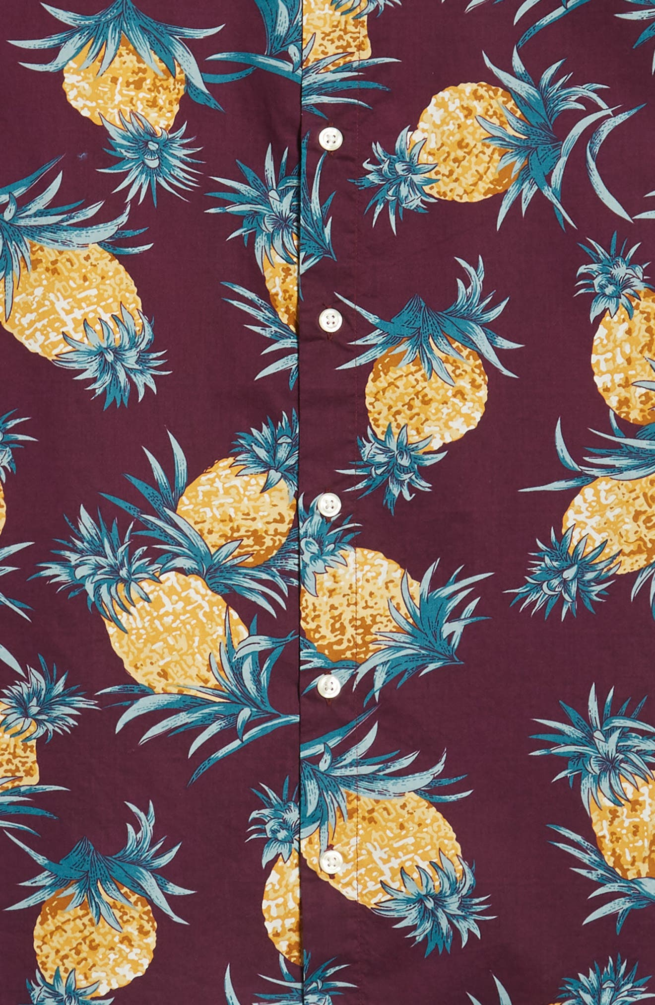 Riviera Slim Fit Pineapple Print Sport Shirt,                             Alternate thumbnail 6, color,                             500
