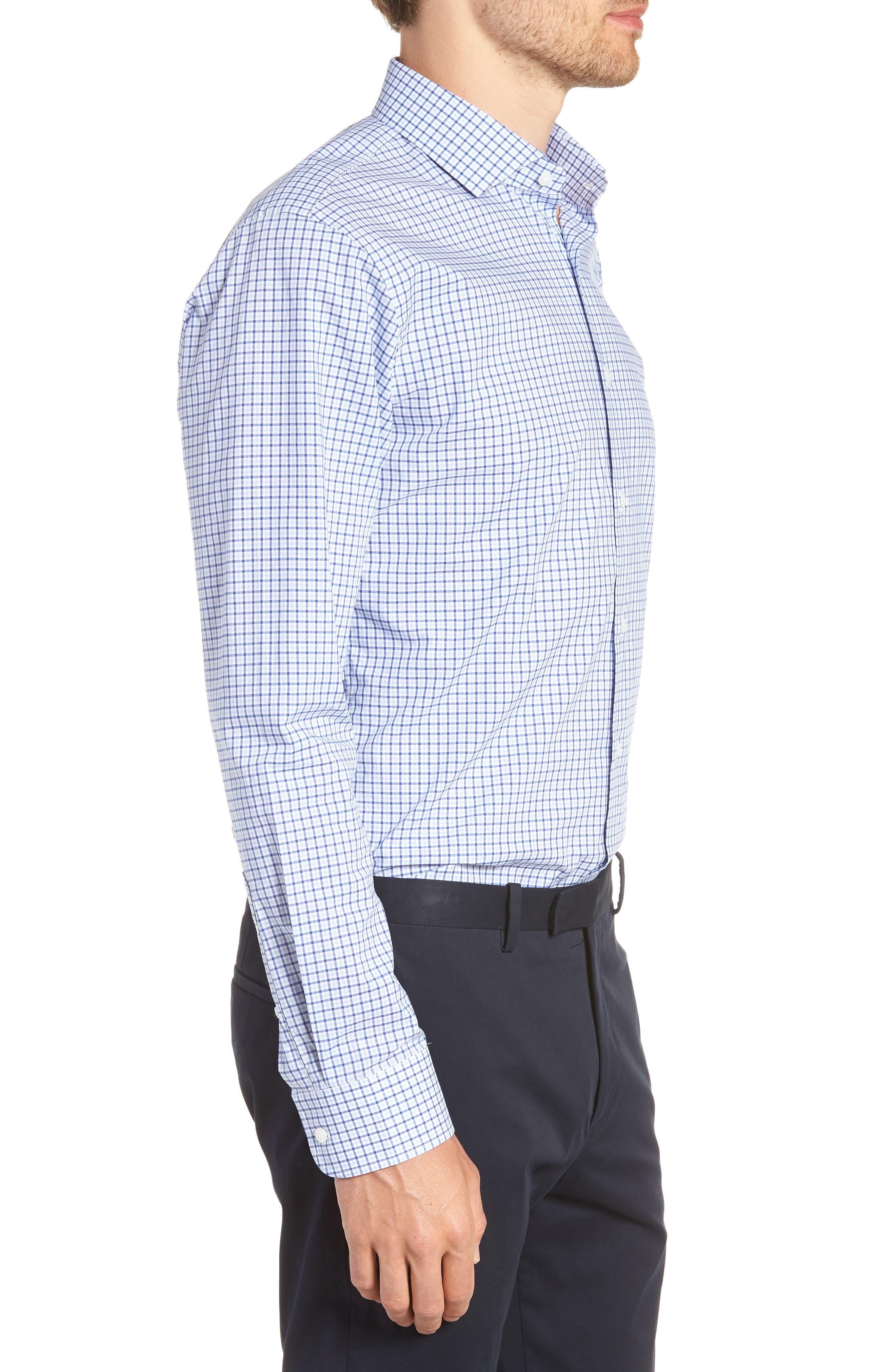 Trim Fit Check Dress Shirt,                             Alternate thumbnail 4, color,                             BLUE SODALITE