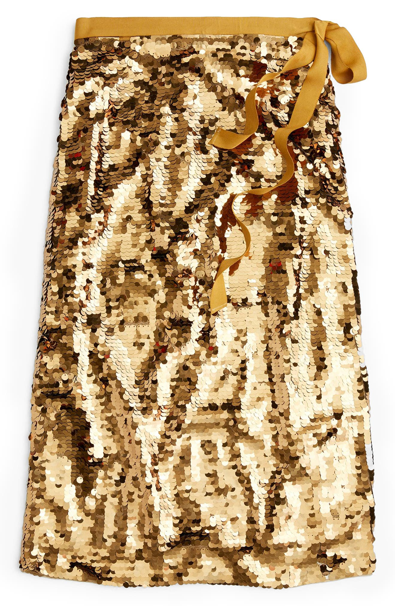Sequin Midi Skirt with Tie,                             Main thumbnail 1, color,                             MELTED CARAMEL