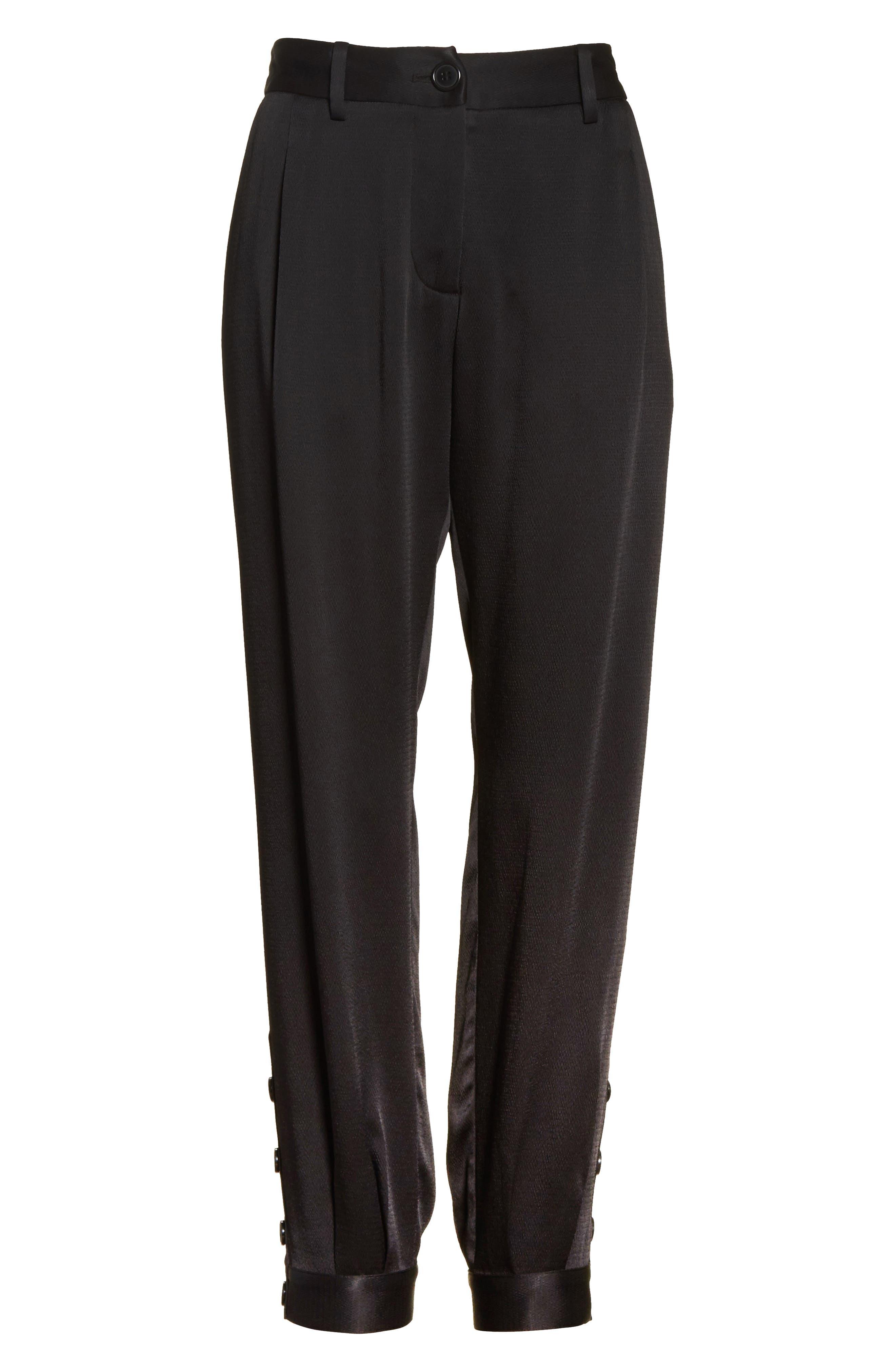 Bertina Pleated Crop Pants,                             Alternate thumbnail 6, color,                             003