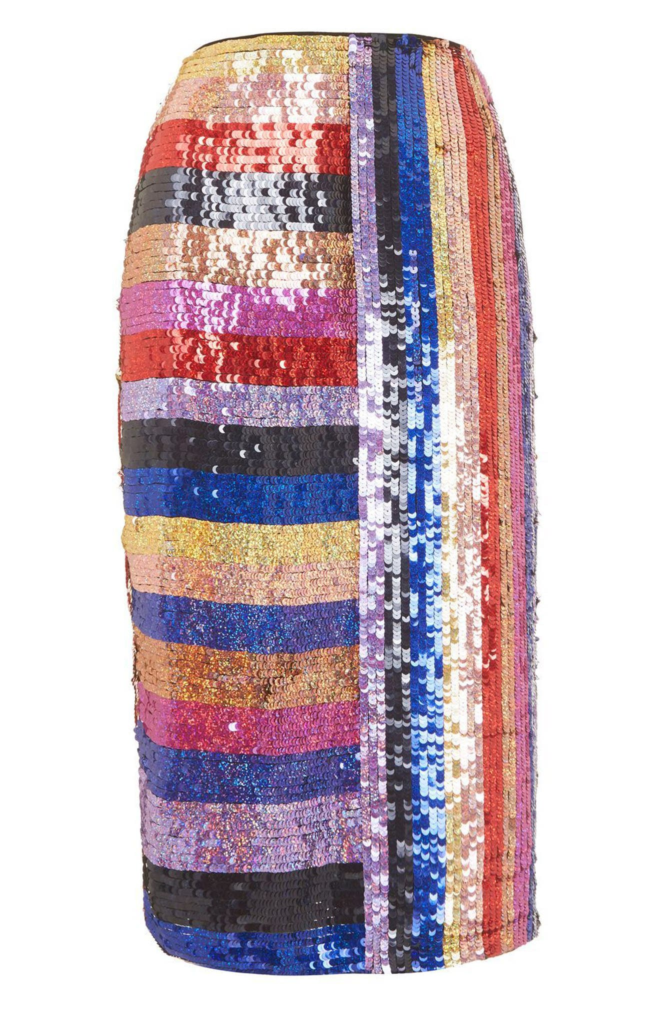 Premium Rainbow Sequin Midi Skirt,                             Alternate thumbnail 3, color,                             400