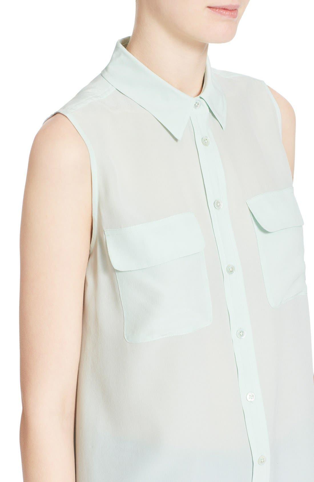 'Slim Signature' Sleeveless Silk Shirt,                             Alternate thumbnail 149, color,