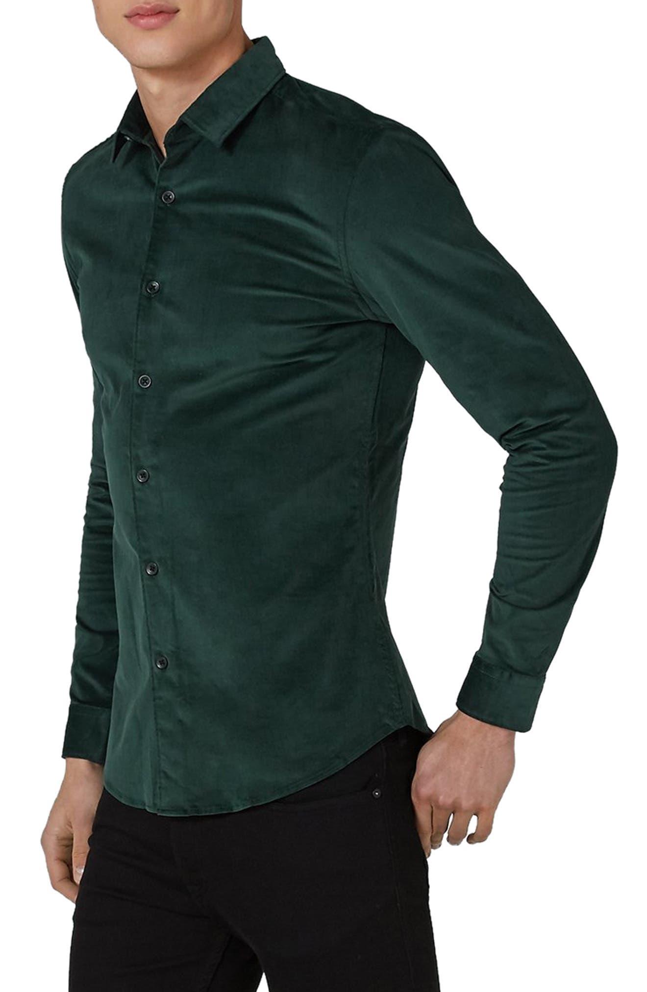 Topman Muscle Fit Corduroy Shirt, Green