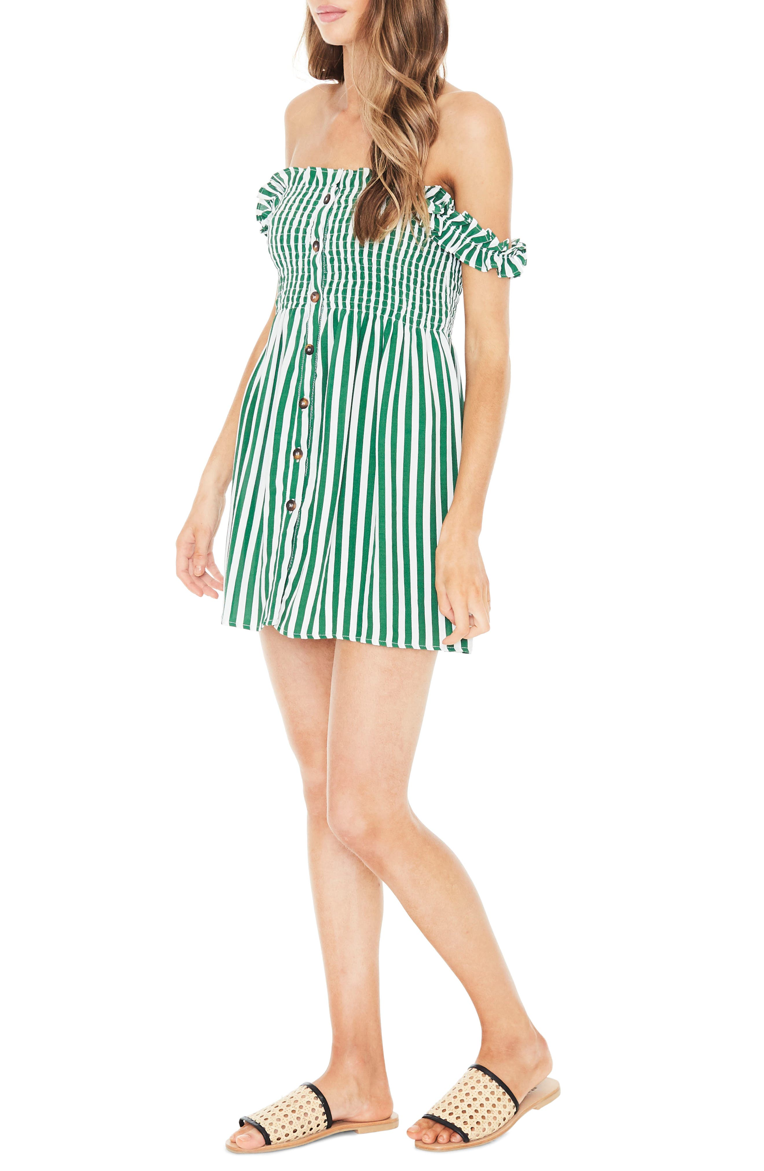 Mika Smocked Dress,                             Alternate thumbnail 3, color,                             ZEUS STRIPE PRINT