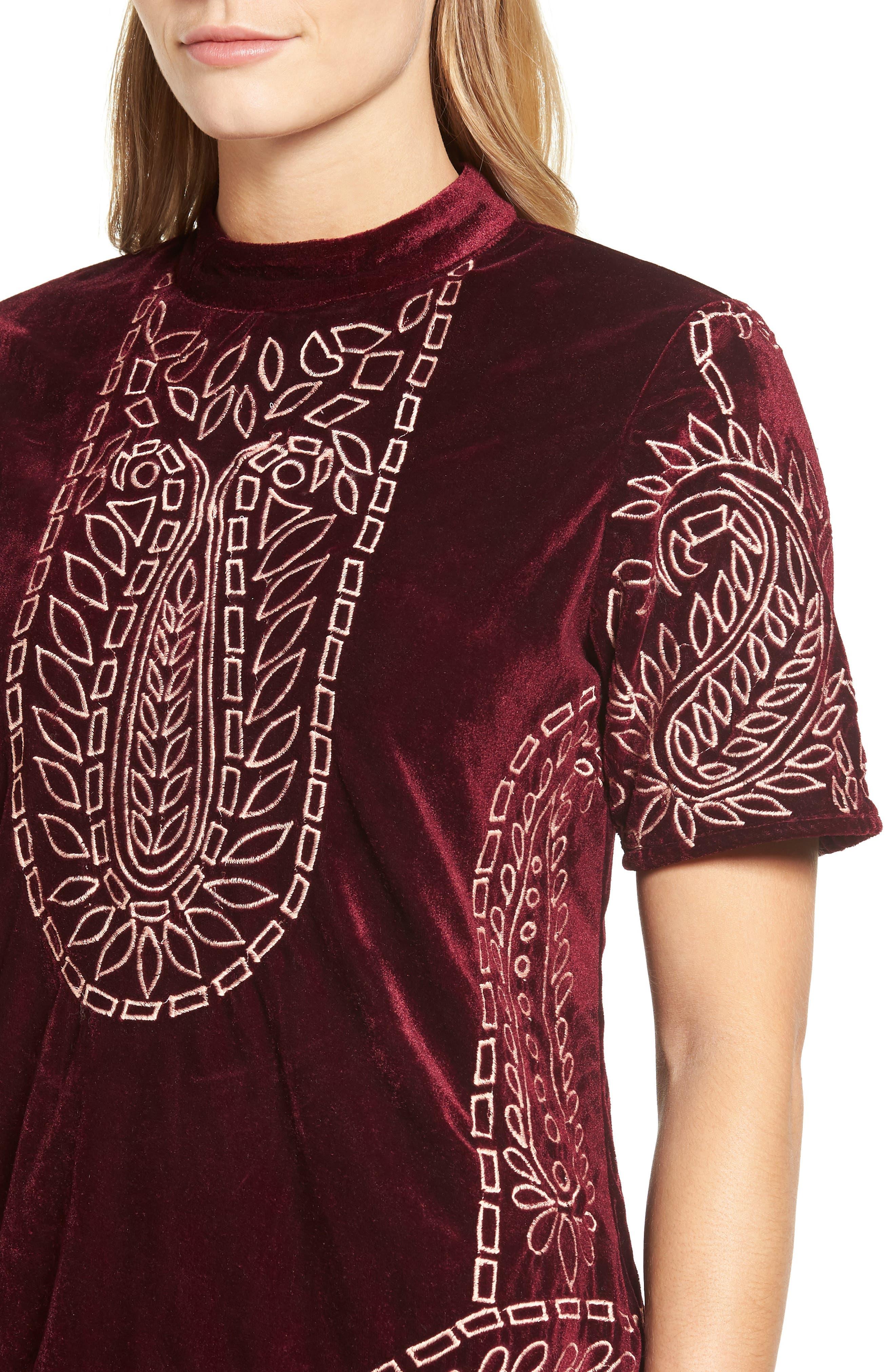 Lily Embroidered Velvet Shift Dress,                             Alternate thumbnail 4, color,