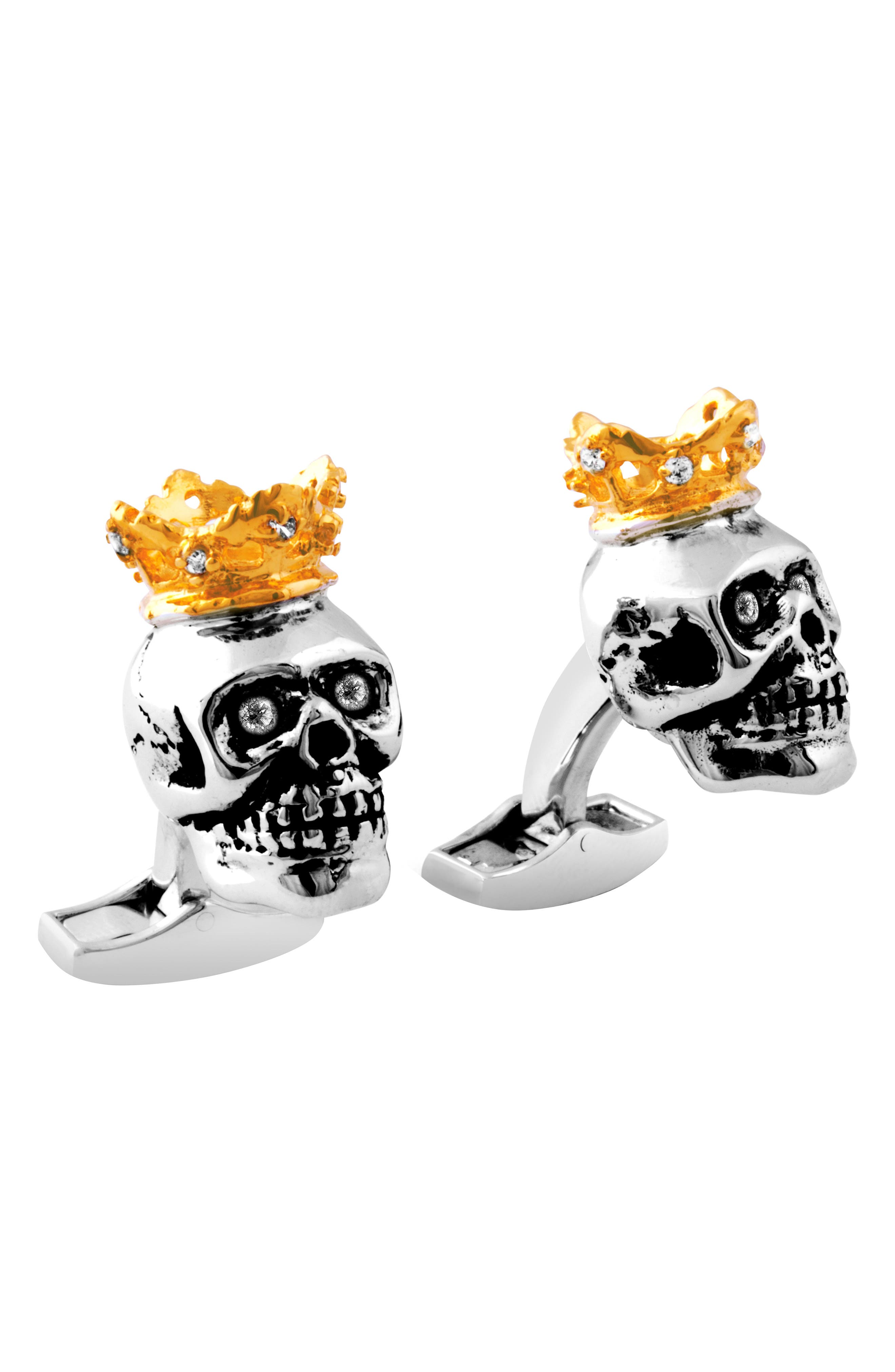 King Skull Cuff Links,                         Main,                         color, BLACK