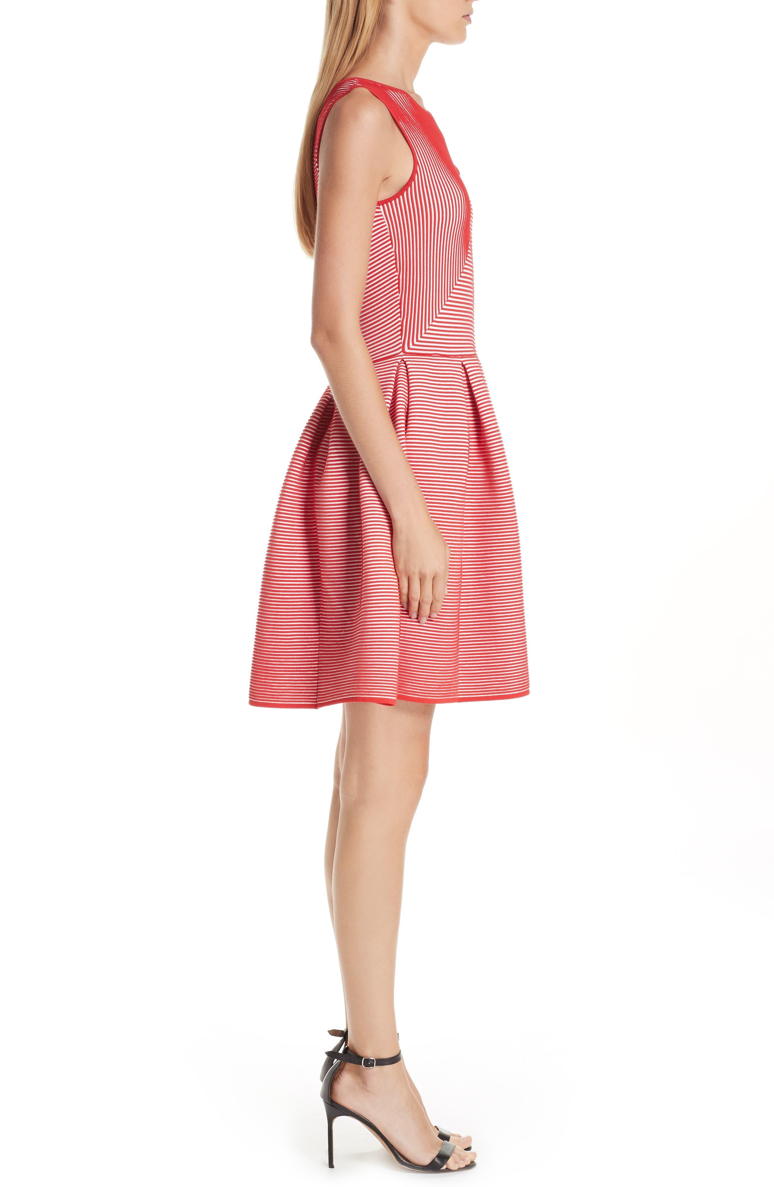 Stripe Knit Jersey Dress,                             Alternate thumbnail 3, color,                             ROSSO VULCANO