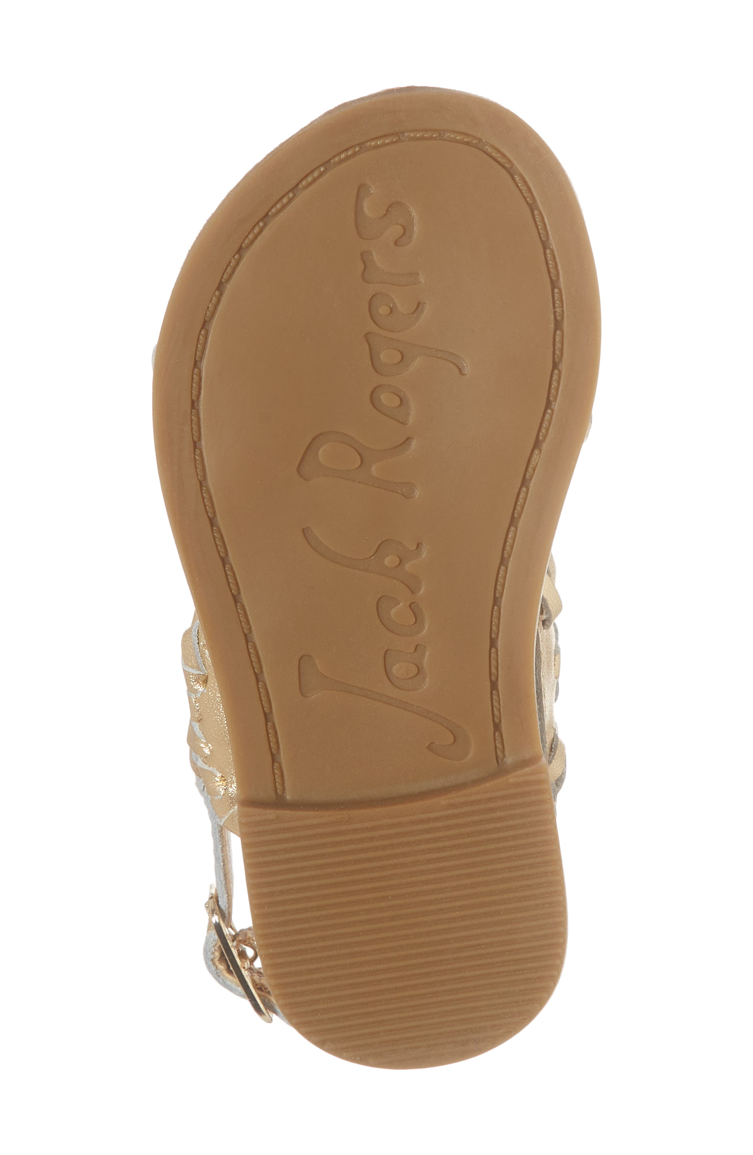 Little Miss Lauren Sandal,                             Alternate thumbnail 6, color,                             GOLD LEATHER