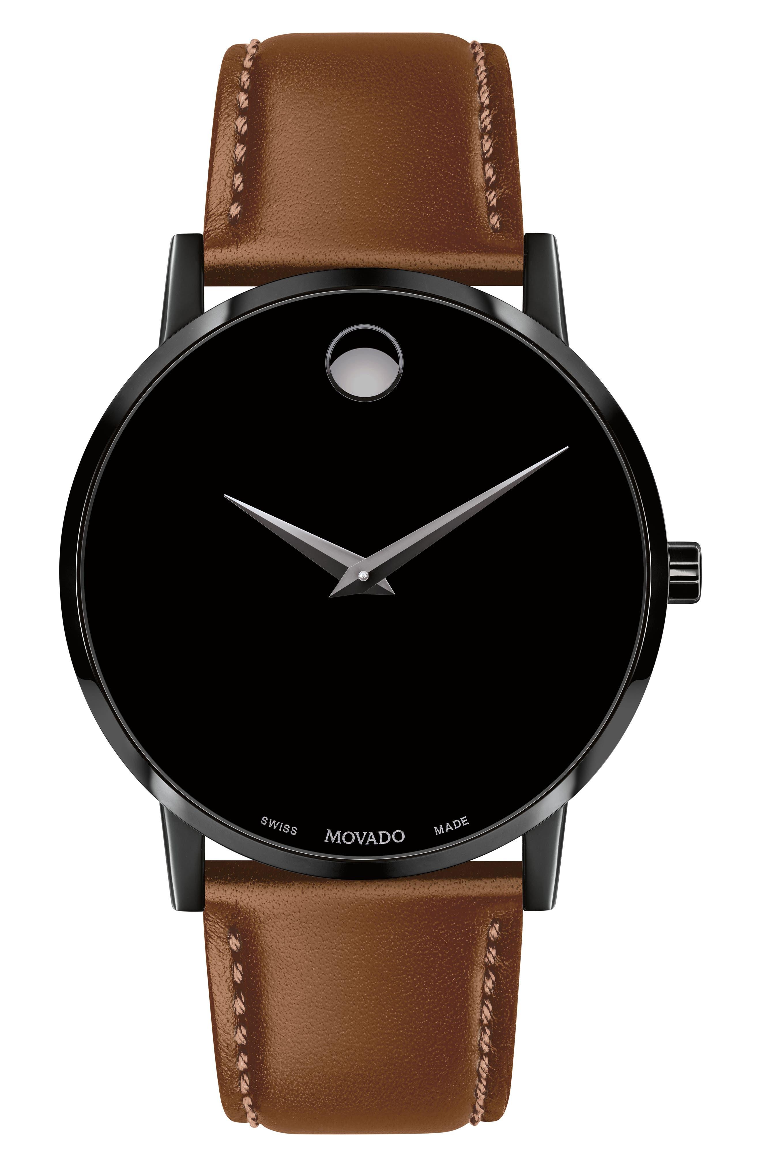 Leather Strap Watch, 40mm,                         Main,                         color, COGNAC/ BLACK