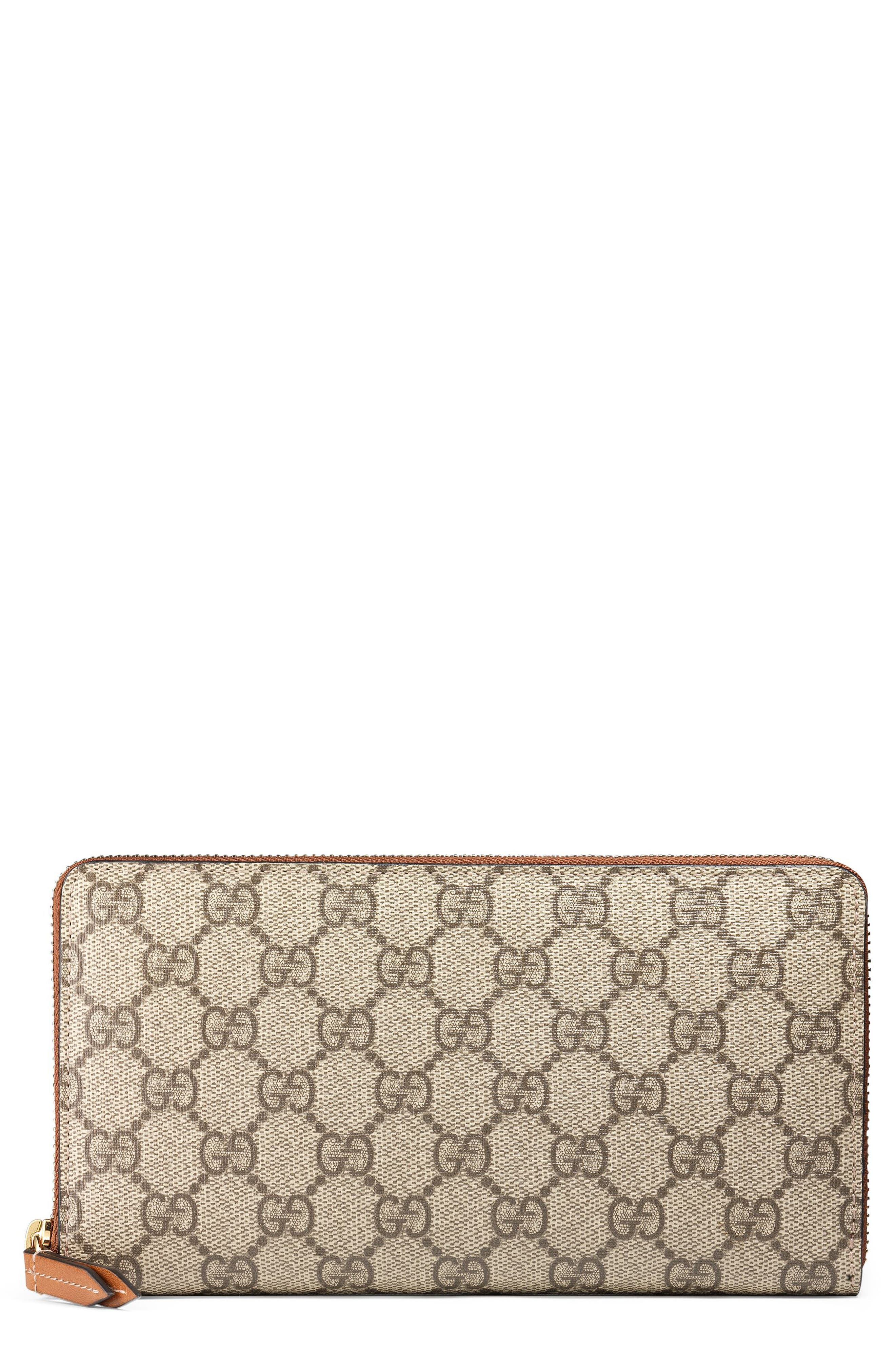 Linea GG Supreme Canvas Zip Around Wallet,                             Main thumbnail 1, color,                             BEIGE EBONY/ CUIR