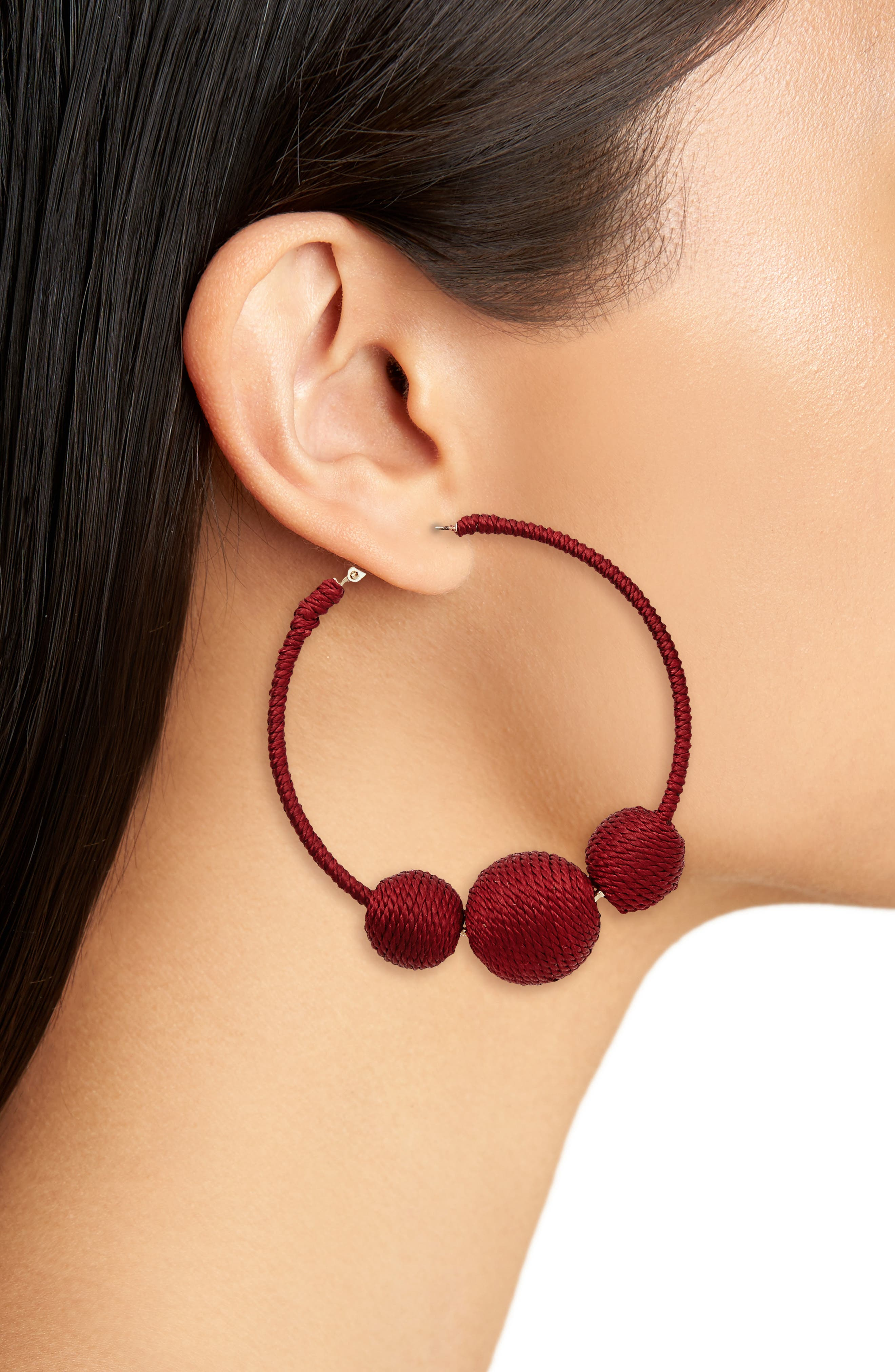Wrapped Ball Hoop Earrings,                             Alternate thumbnail 8, color,